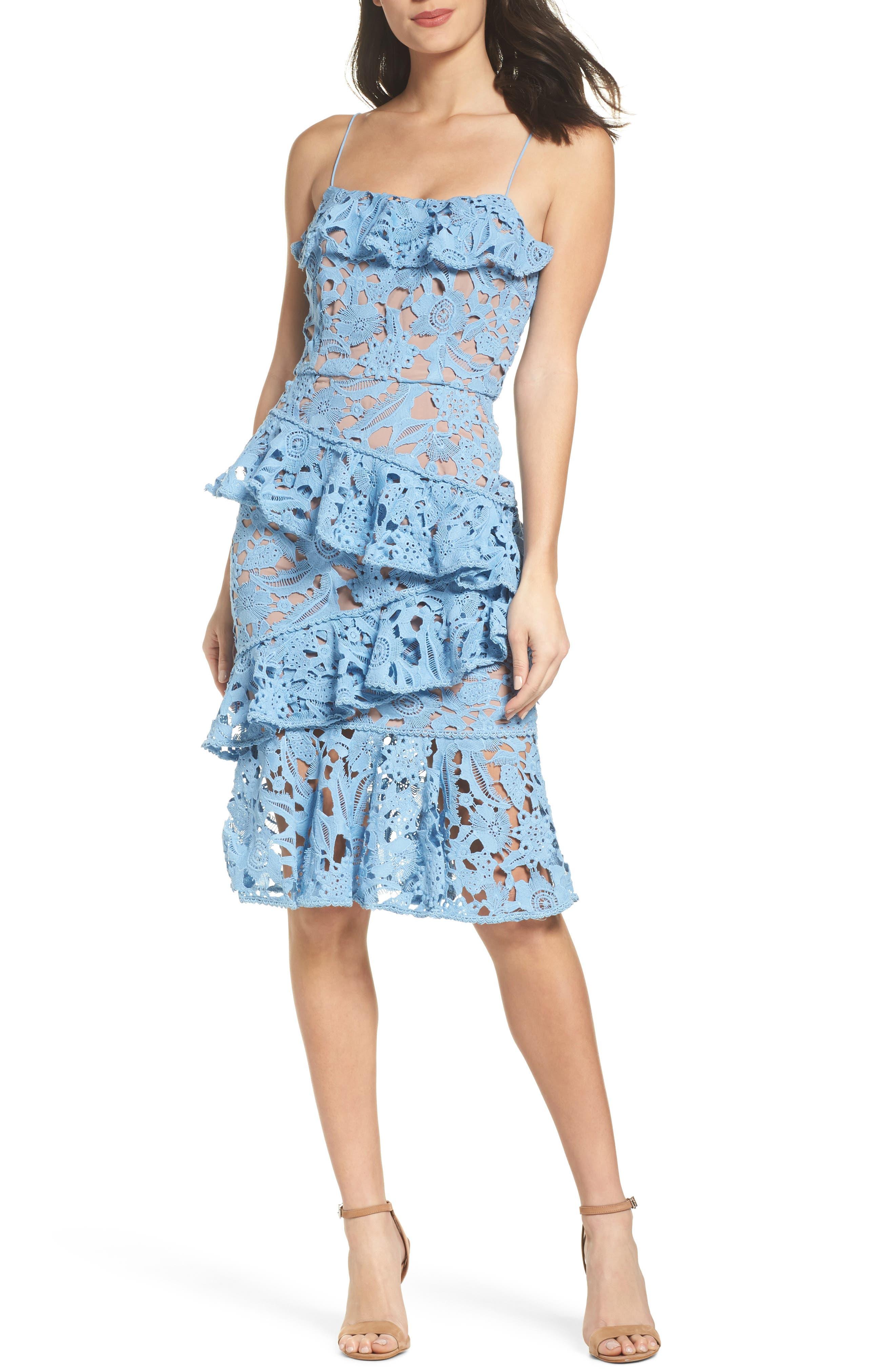 Lace Parfait Ruffle Dress,                             Main thumbnail 1, color,