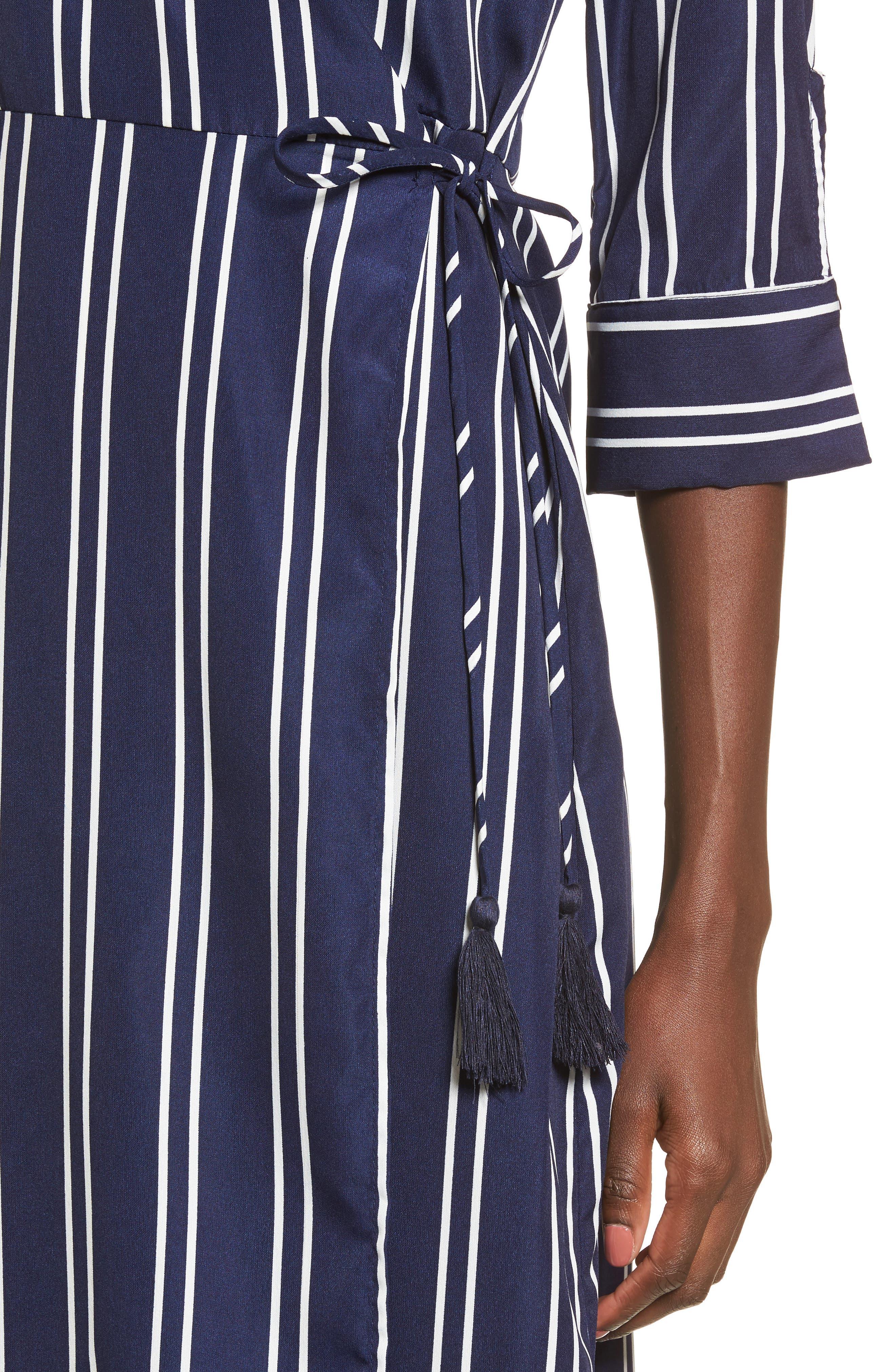 Stripe Wrap Midi Dress,                             Alternate thumbnail 4, color,
