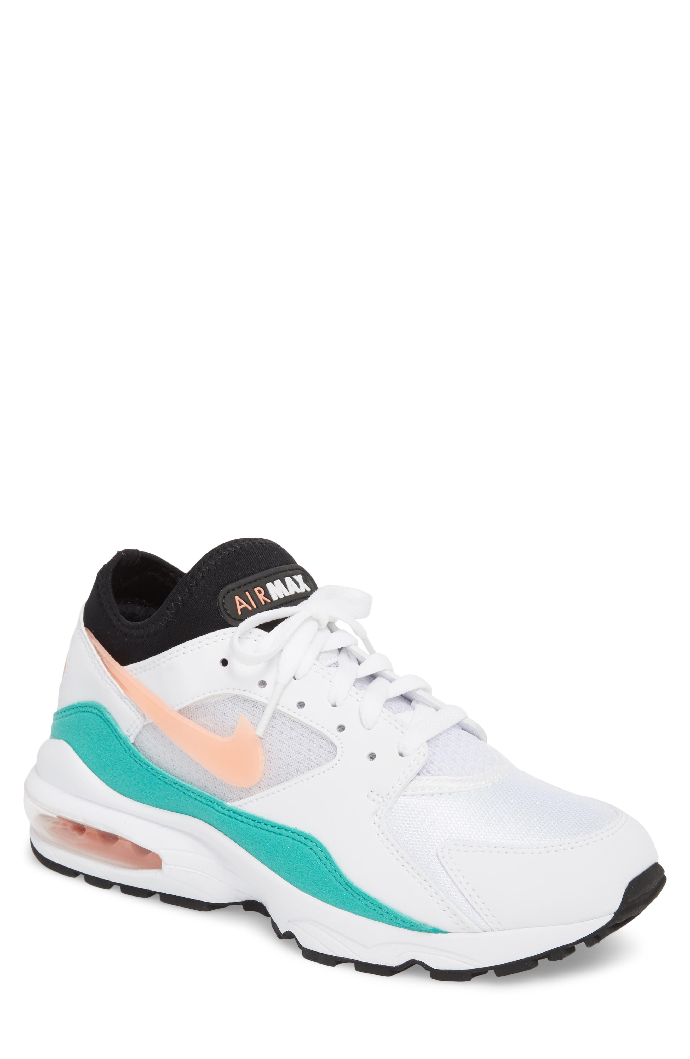 Air Max 93 Sneaker,                         Main,                         color, WHITE/ CRIMSON BLISS