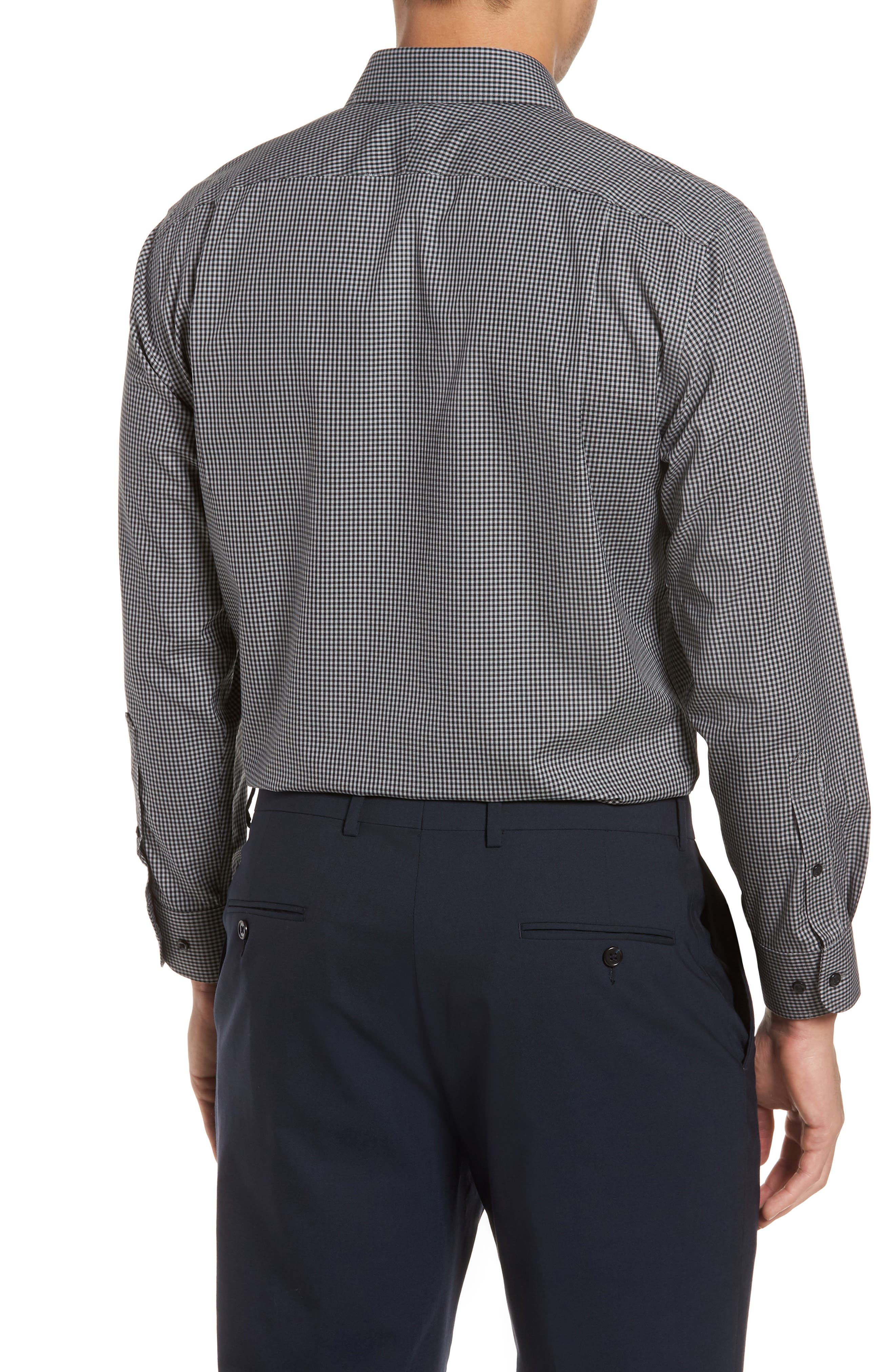 Smartcare<sup>™</sup> Trim Fit Check Dress Shirt,                             Alternate thumbnail 3, color,                             001
