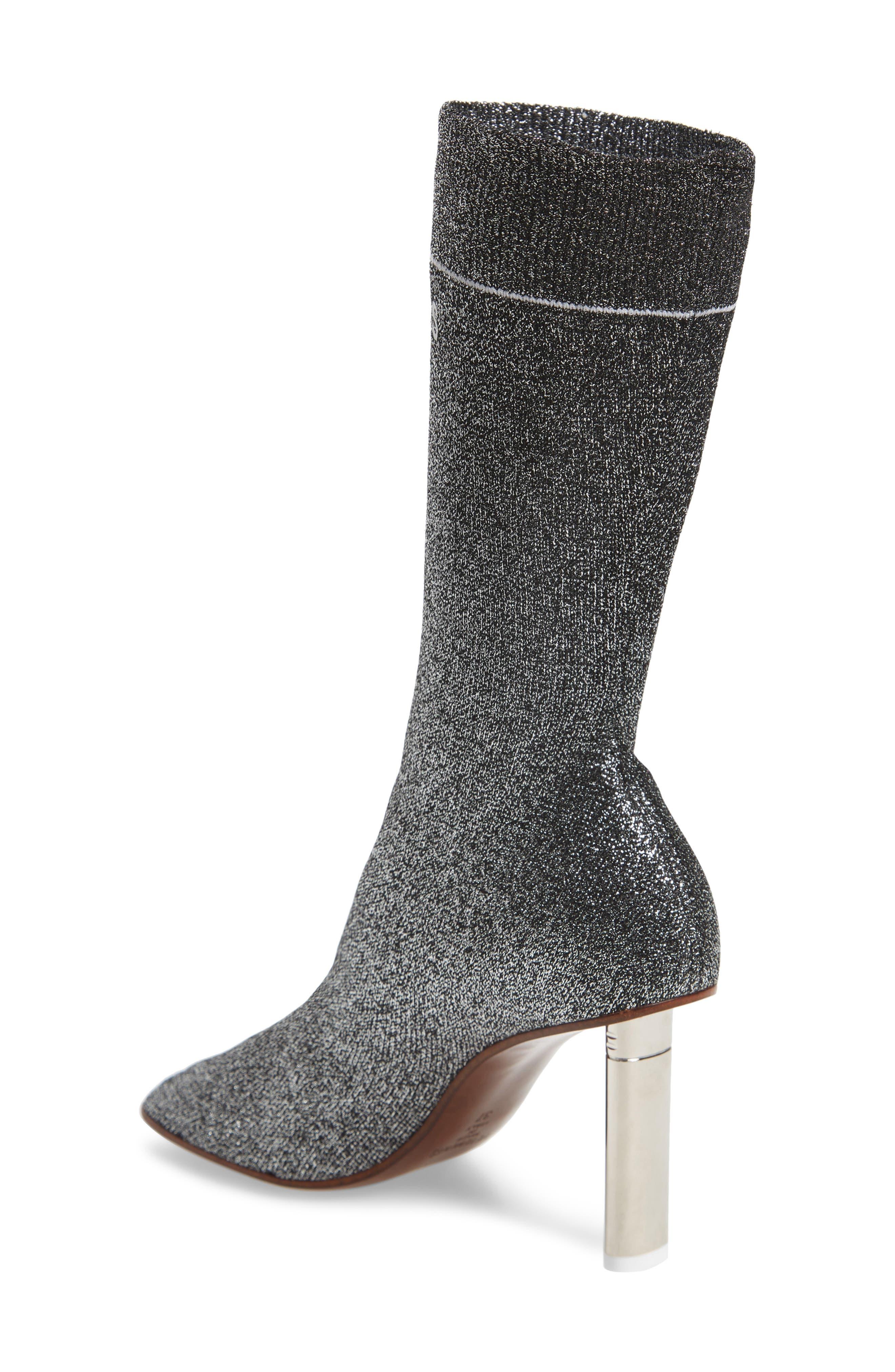 Lurex Sock Boot,                             Alternate thumbnail 2, color,                             SILVER/SILVER HEEL - 814