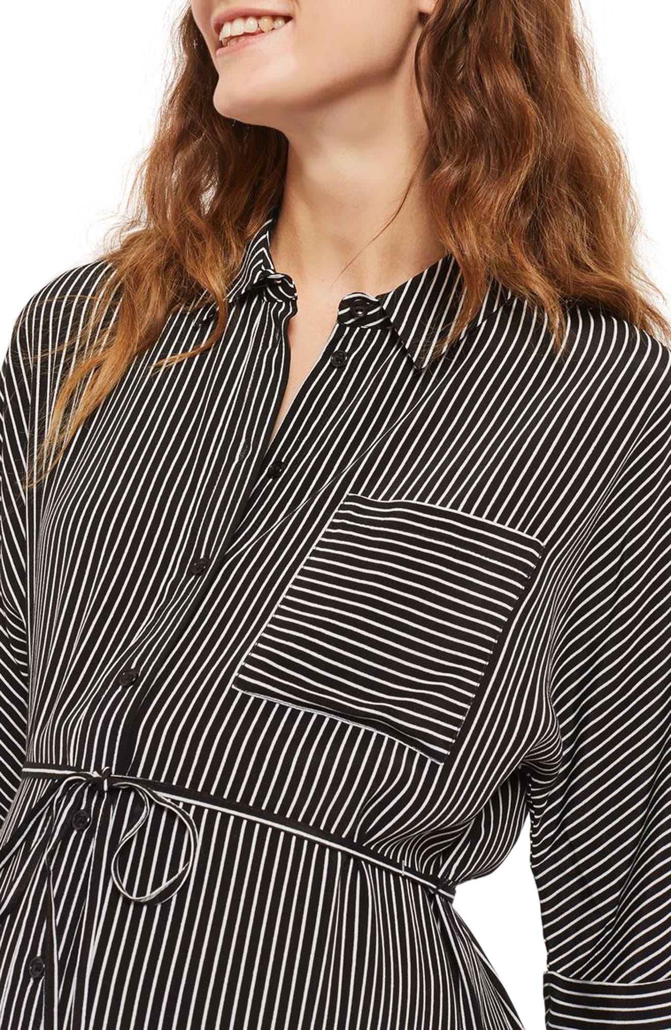 Kady Stripe Maternity Shirtdress,                             Alternate thumbnail 4, color,                             001