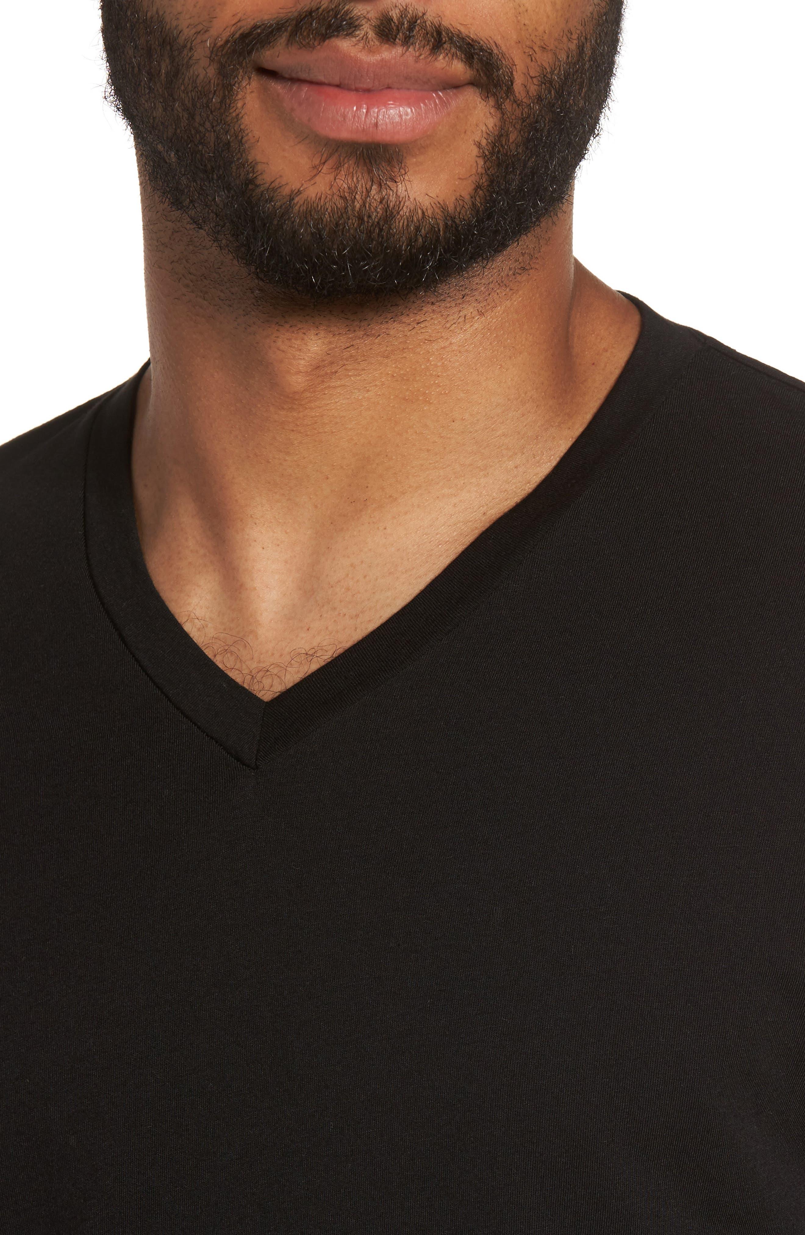 Classic Supima Cotton Blend V-Neck T-Shirt,                             Alternate thumbnail 4, color,                             BLACK