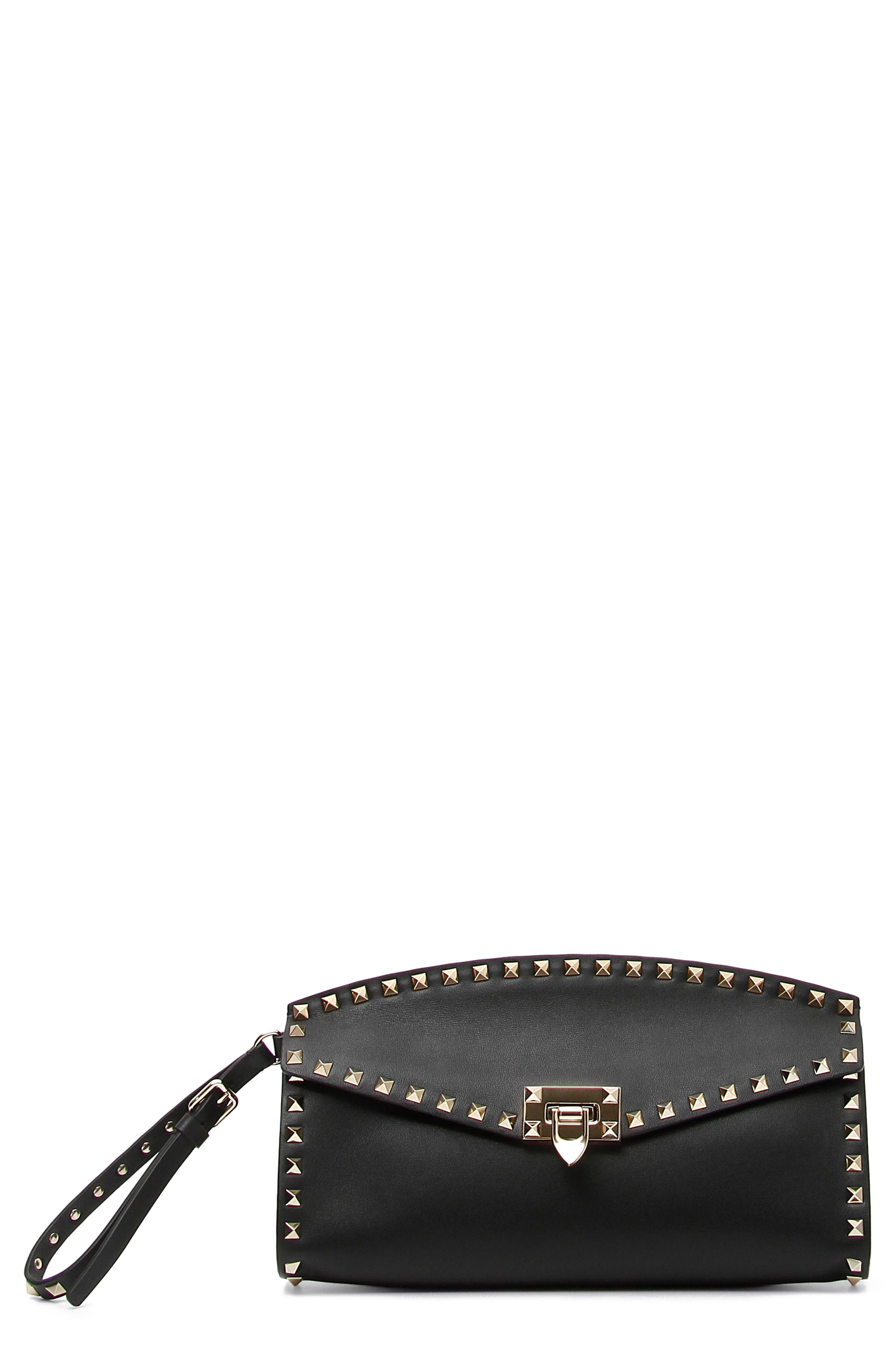 Rockstud Leather Clutch,                             Main thumbnail 1, color,                             001