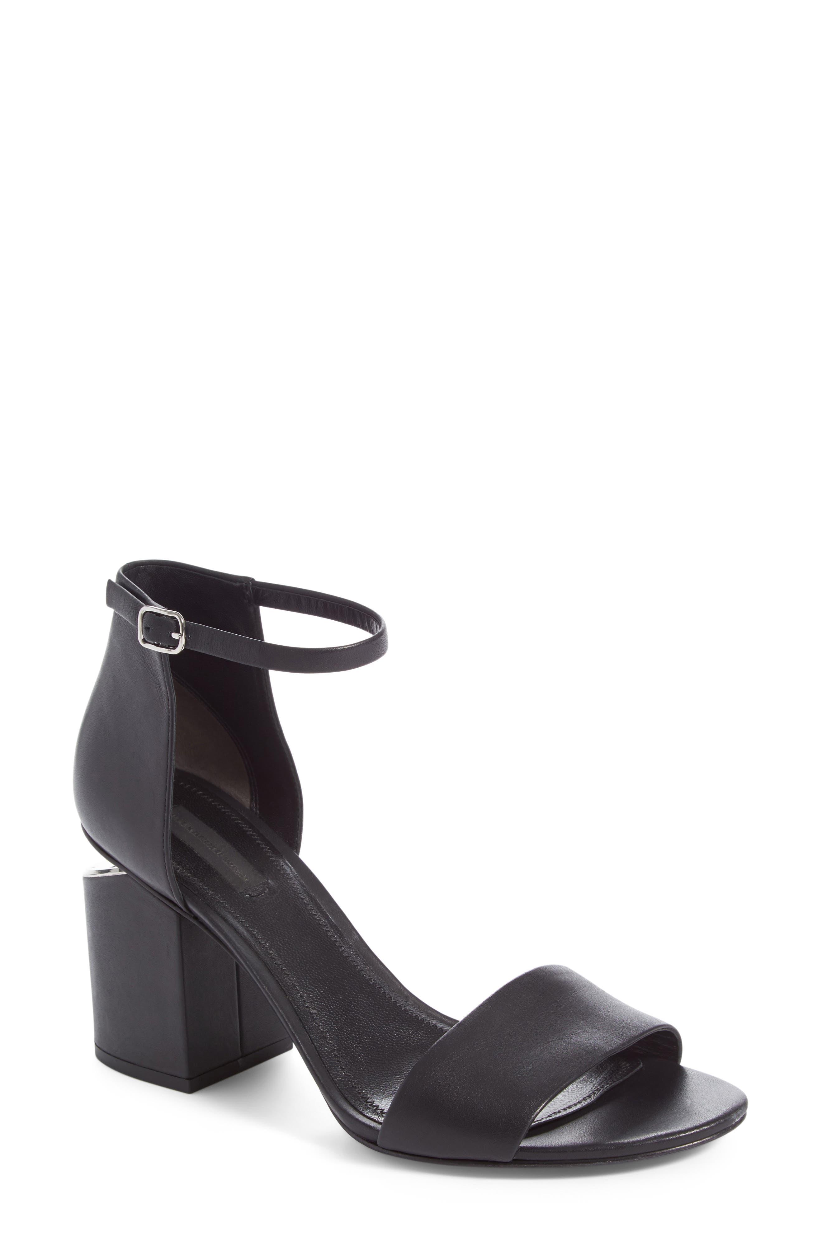 'Abby' Ankle Strap Sandal,                             Alternate thumbnail 2, color,                             BLACK