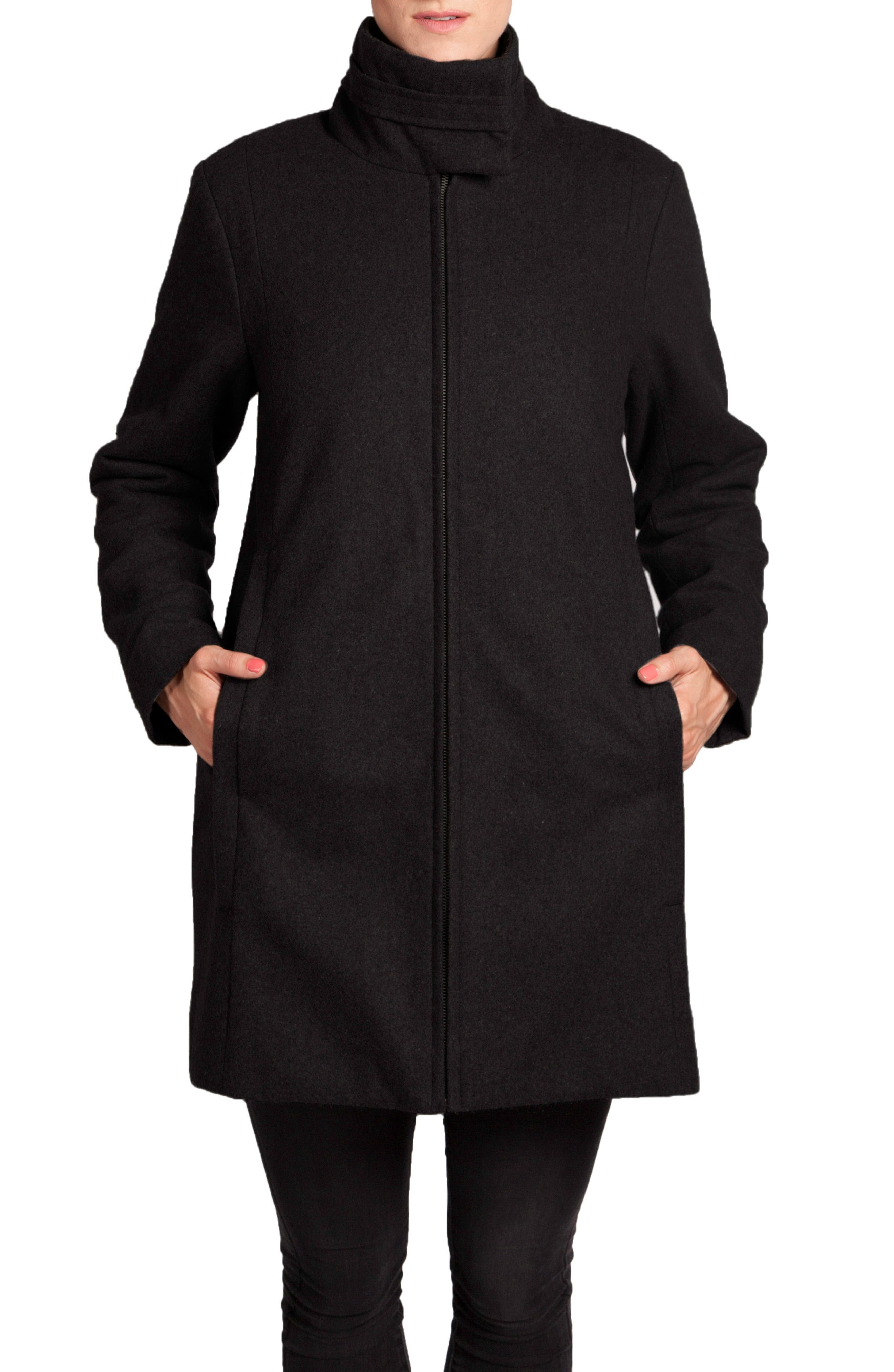 A-Line Convertible 3-in-1 Maternity Swing Coat,                             Alternate thumbnail 4, color,                             BLACK
