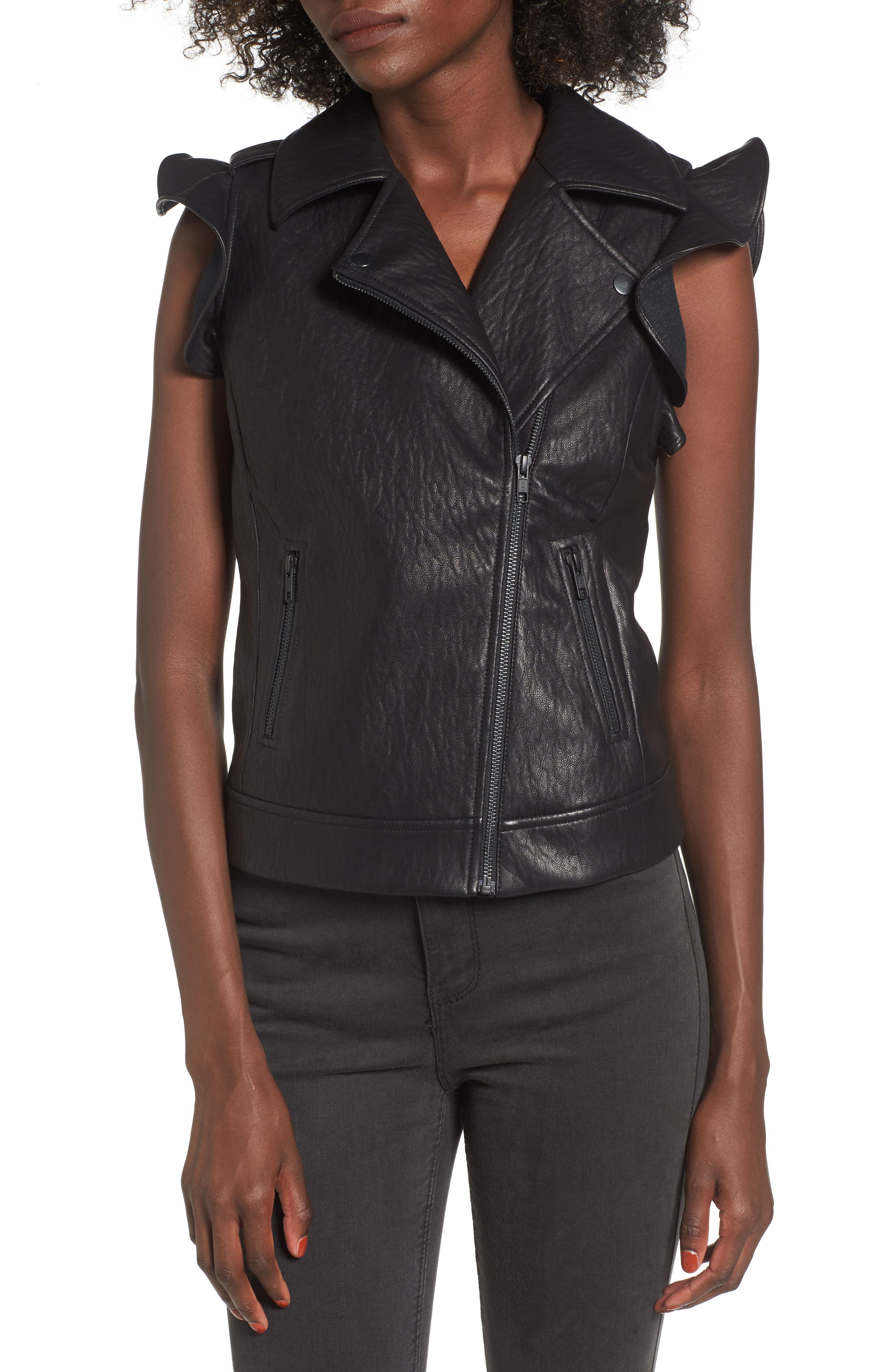 Ruffle Faux Leather Vest,                             Alternate thumbnail 4, color,                             001