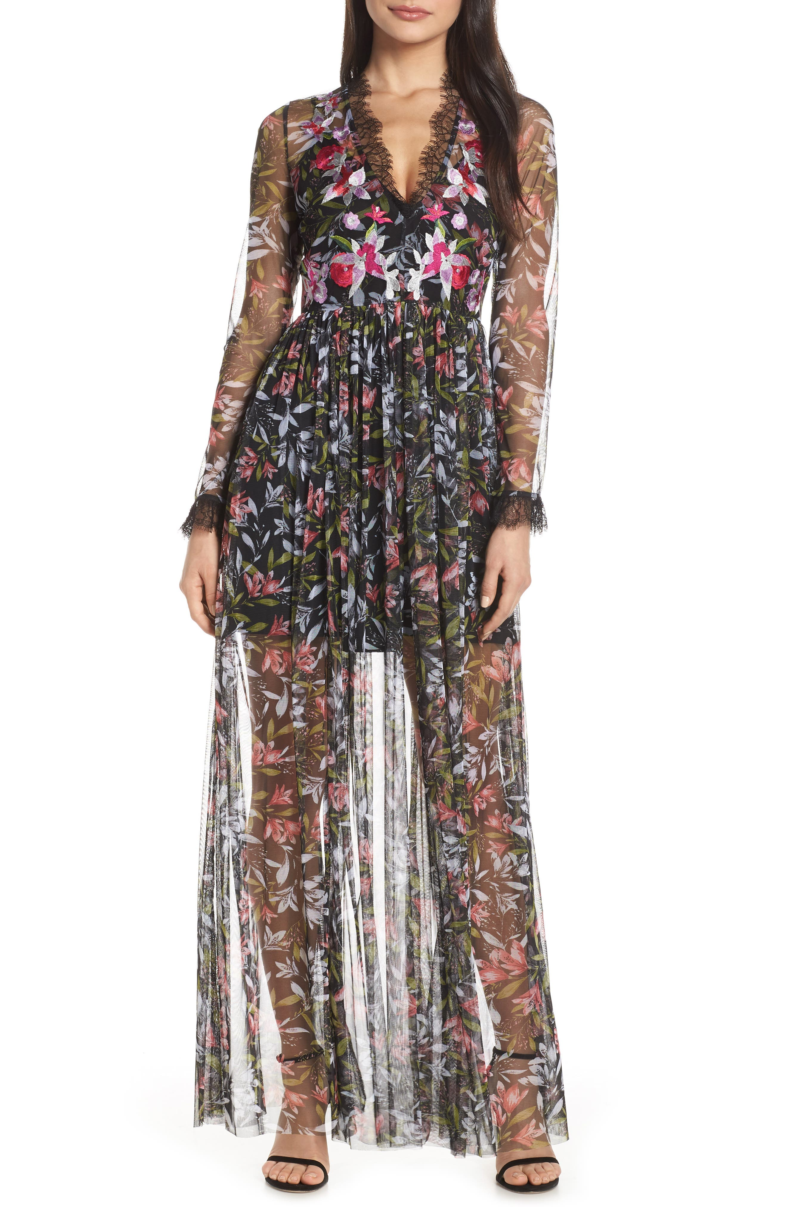 French Connection Embroidered Floral Maxi Dress, Black