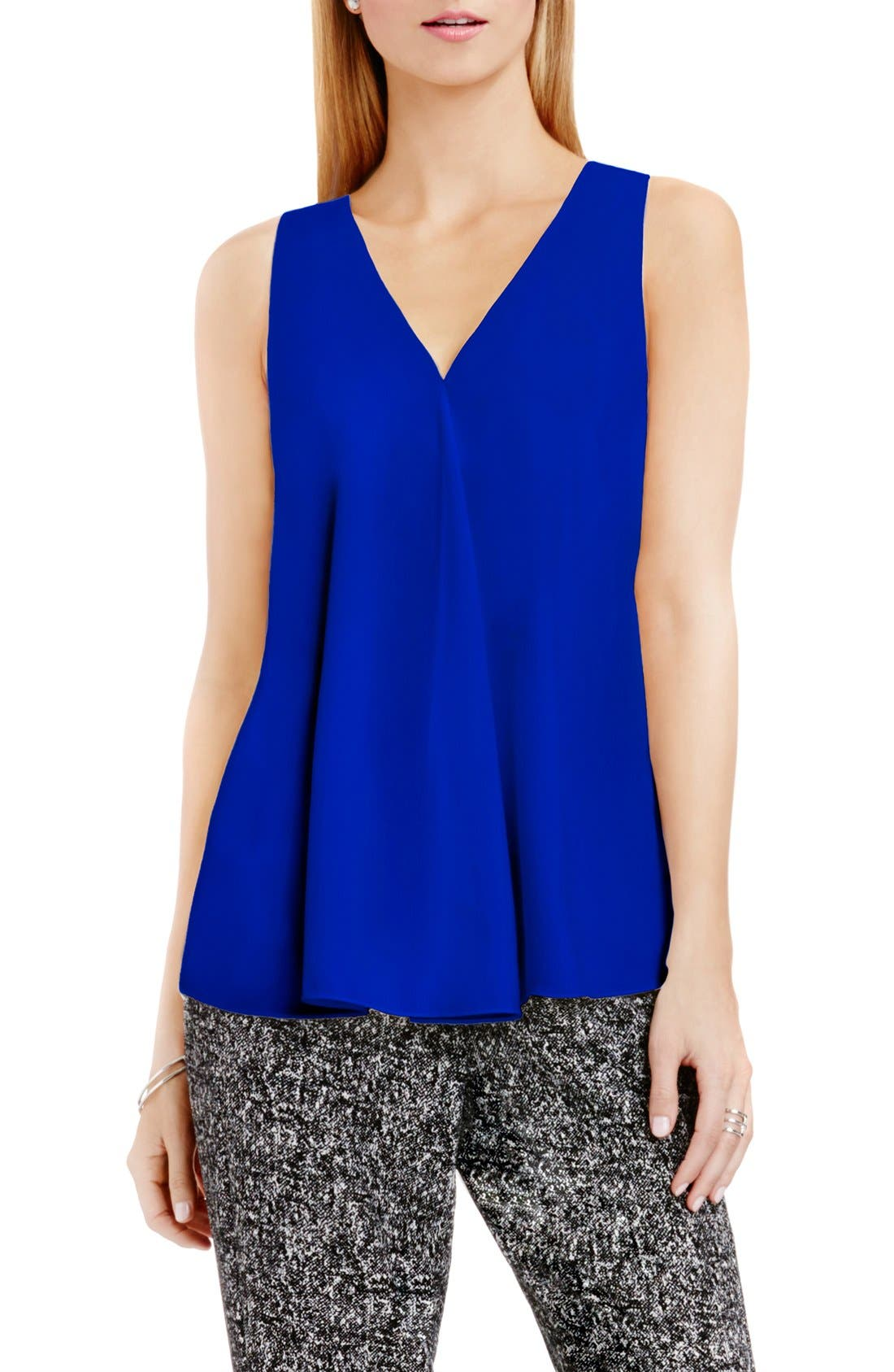 Drape Front V-Neck Sleeveless Blouse,                             Alternate thumbnail 93, color,