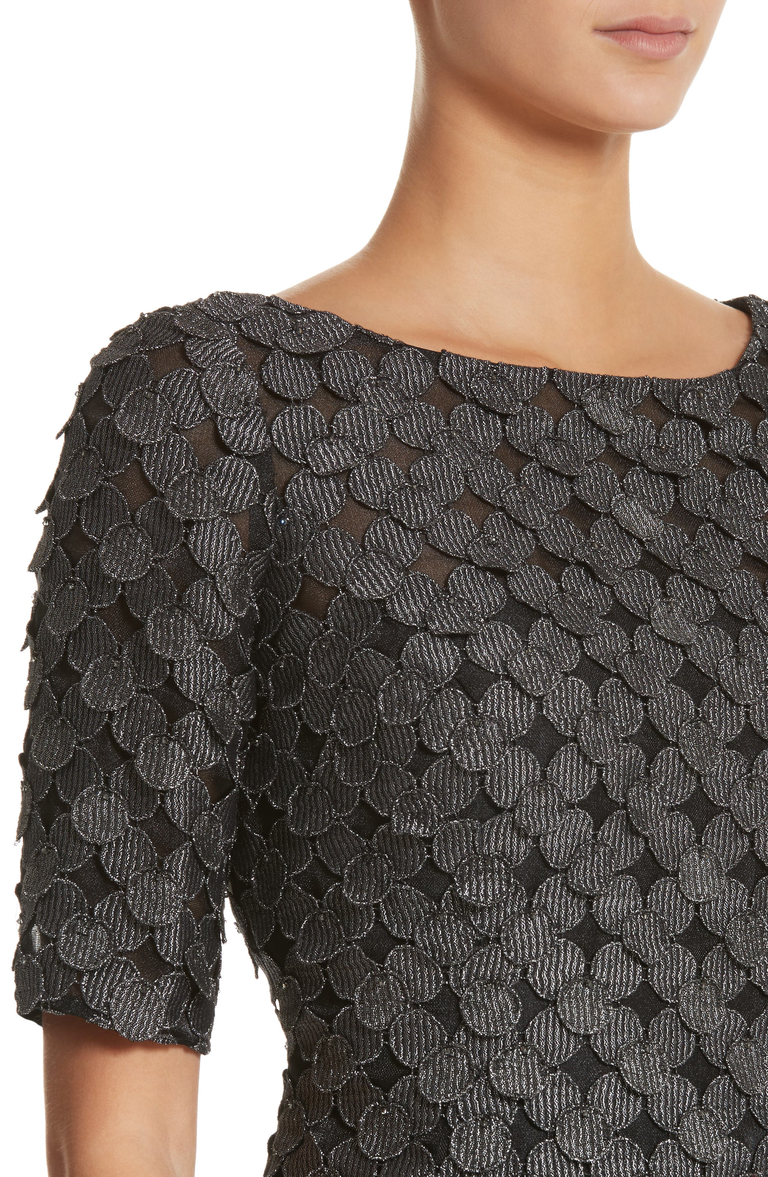 Carmen Marc Valvo Dot Appliqué Sheath Dress,                             Alternate thumbnail 4, color,                             030