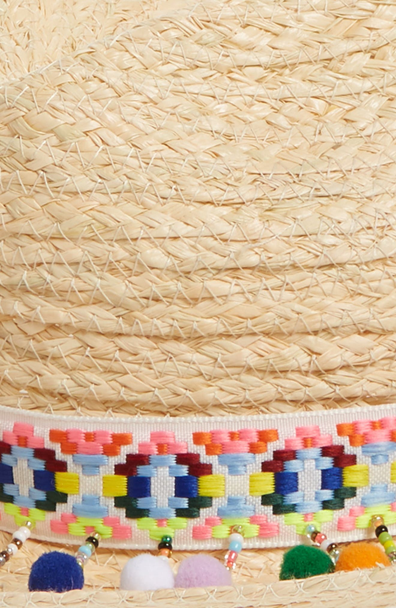 Beaded Pompom Trim Panama Hat,                             Alternate thumbnail 2, color,                             235