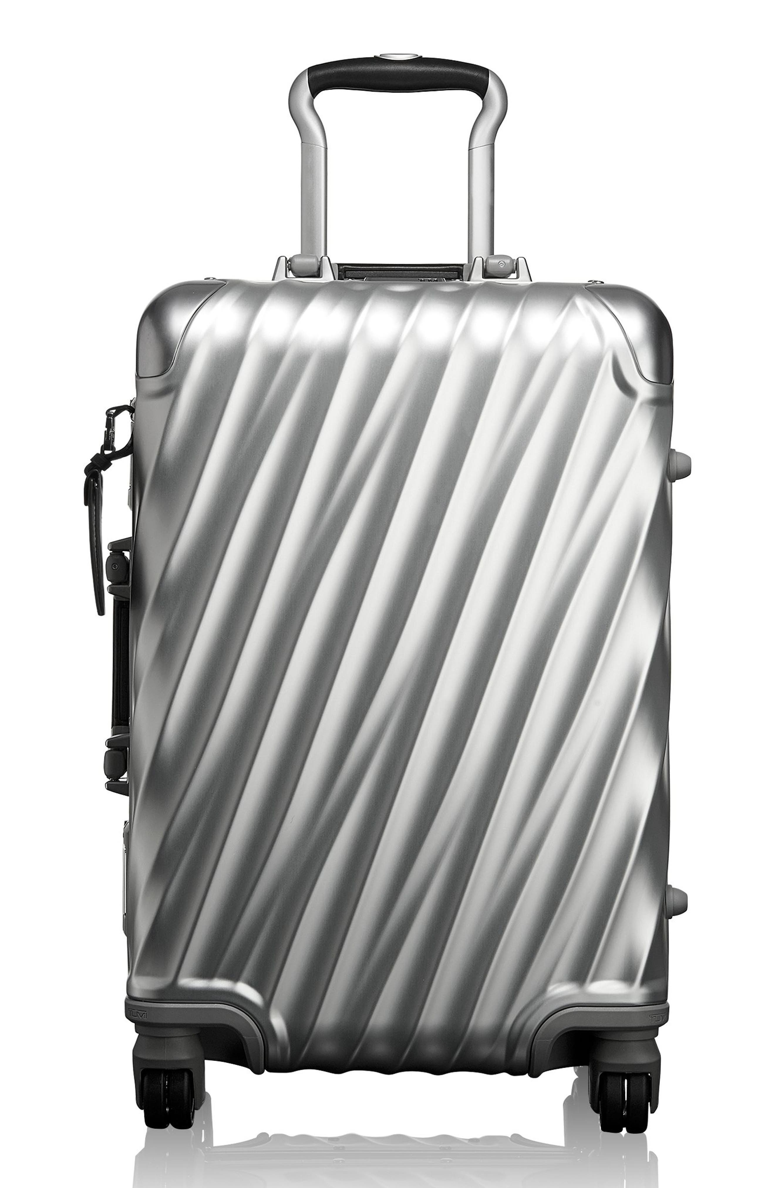 19 Degree 22-Inch Collection International Wheeled Aluminum Carry-On,                         Main,                         color, SILVER