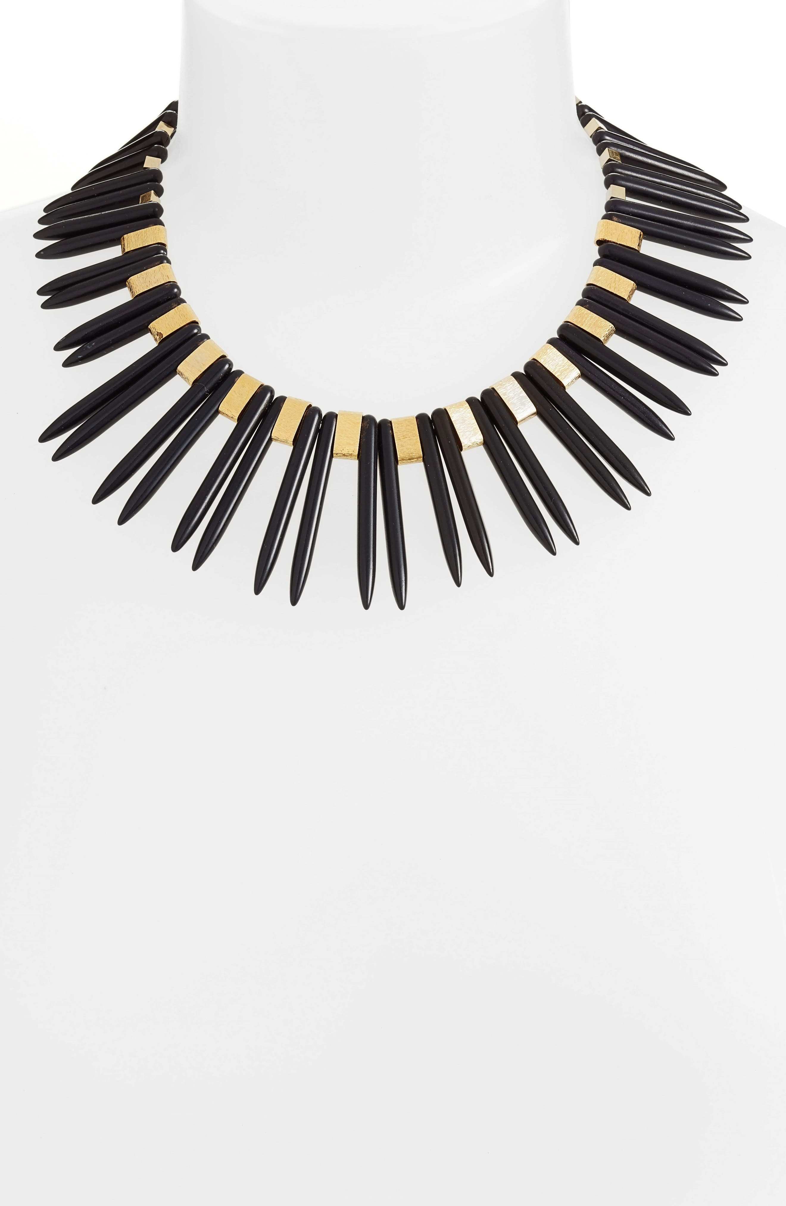 Double Spike Statement Necklace,                             Alternate thumbnail 2, color,                             001