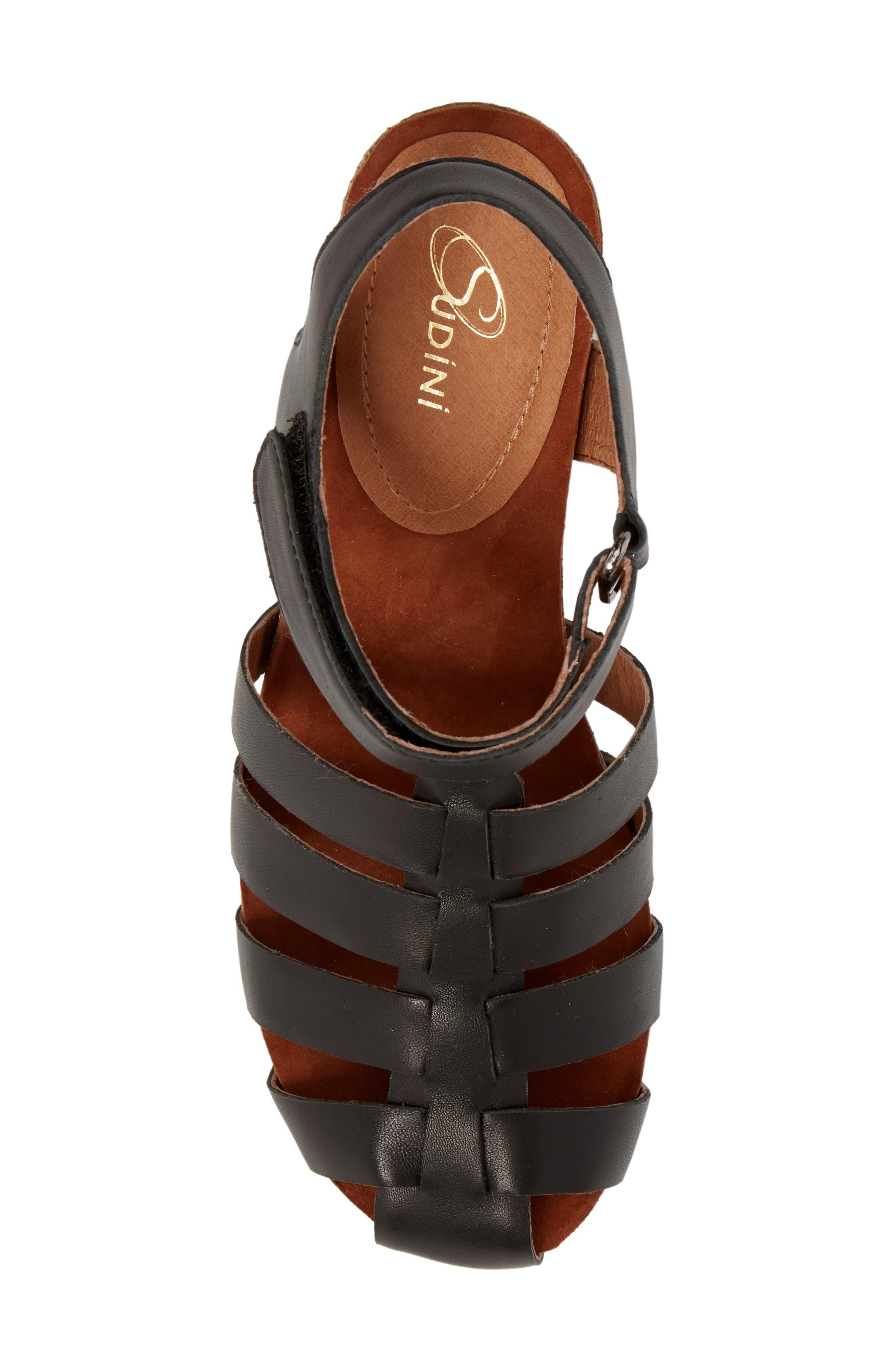 Carrara Block Heel Sandal,                             Alternate thumbnail 5, color,                             BLACK LEATHER