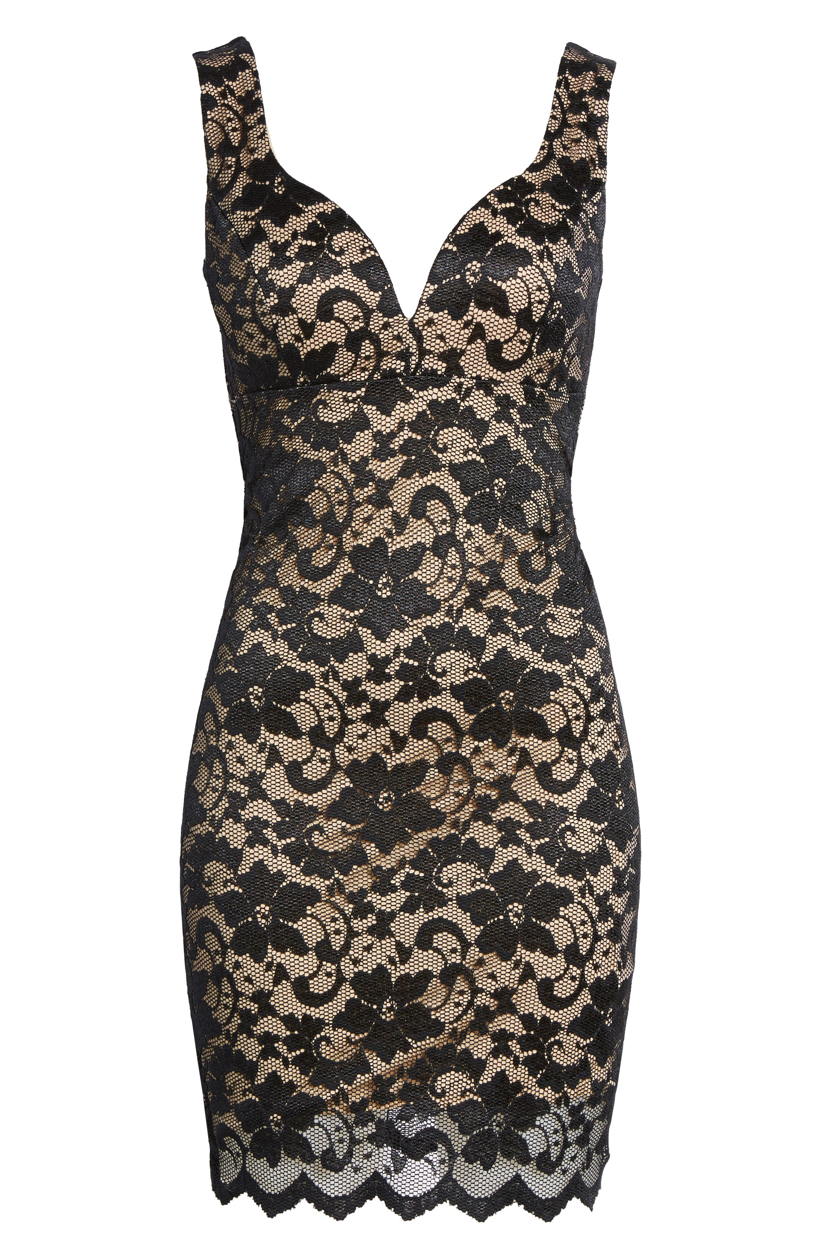 Love Nickie Lew Lace Body Con Dress,                             Alternate thumbnail 6, color,                             002