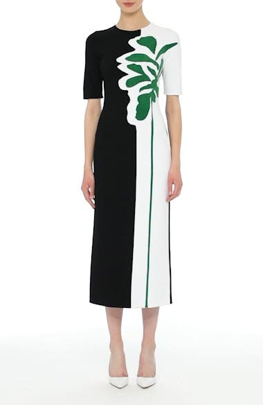Intarsia Leaf Print Dress, video thumbnail