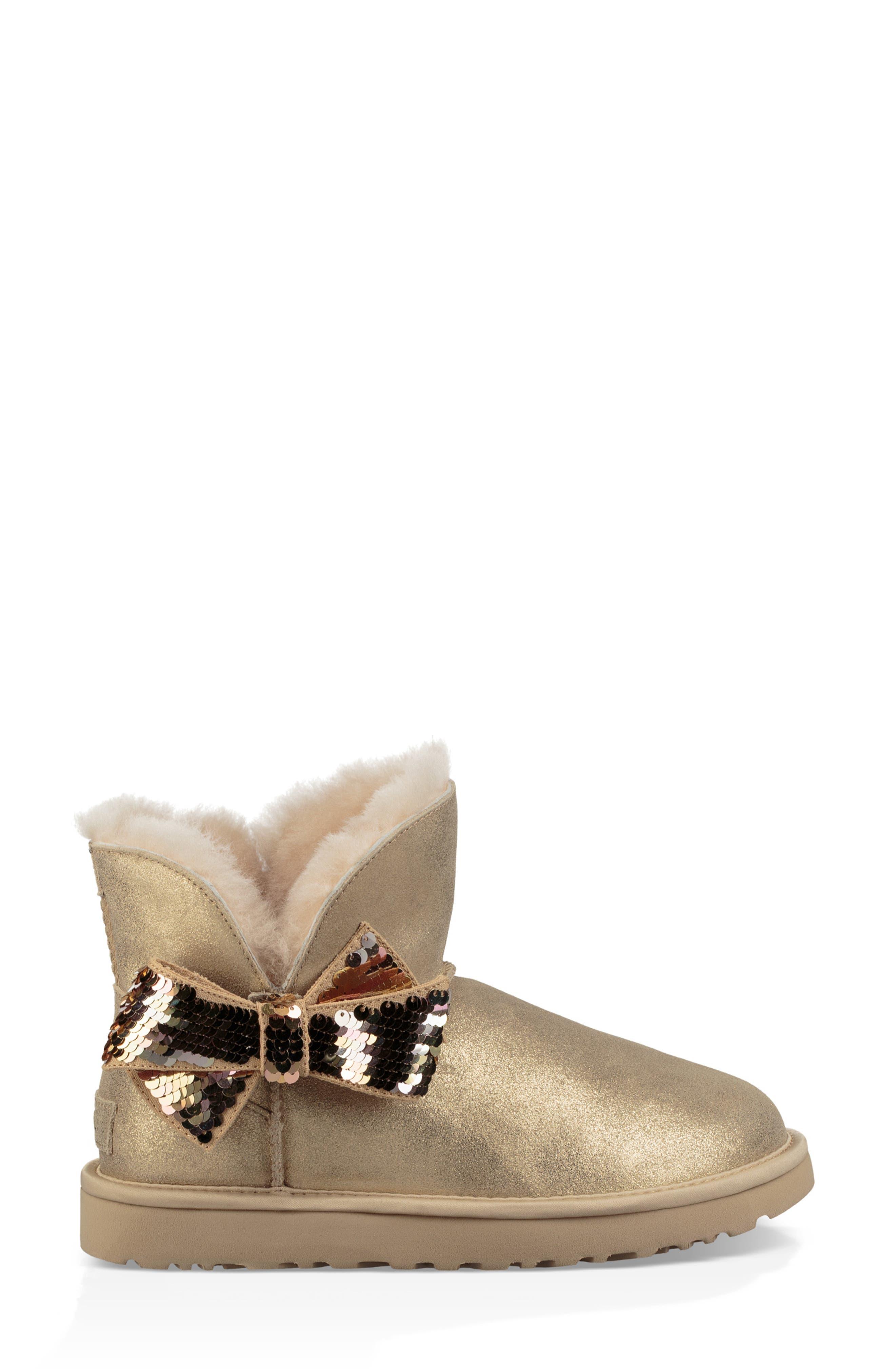 Mini Sequin Bow Bootie,                             Alternate thumbnail 3, color,                             GOLD