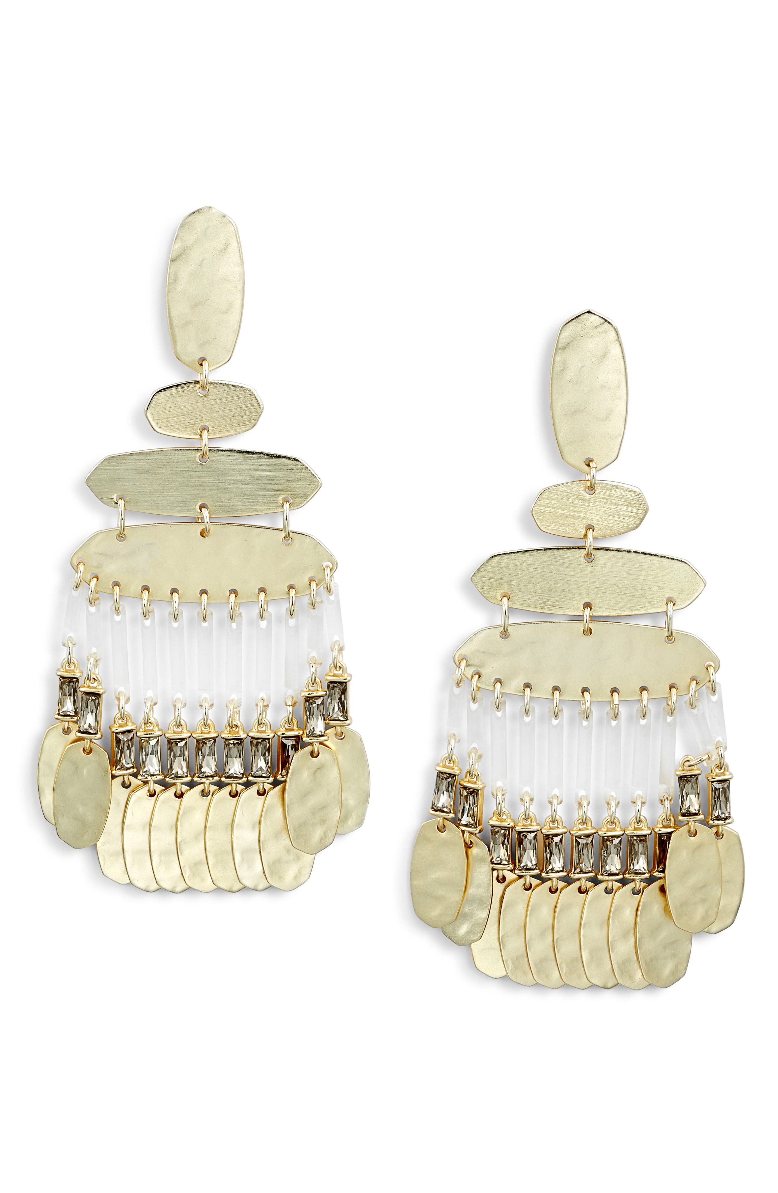 Nicola Large Chandelier Earrings,                         Main,                         color, SMOKY CRYSTAL/ GOLD