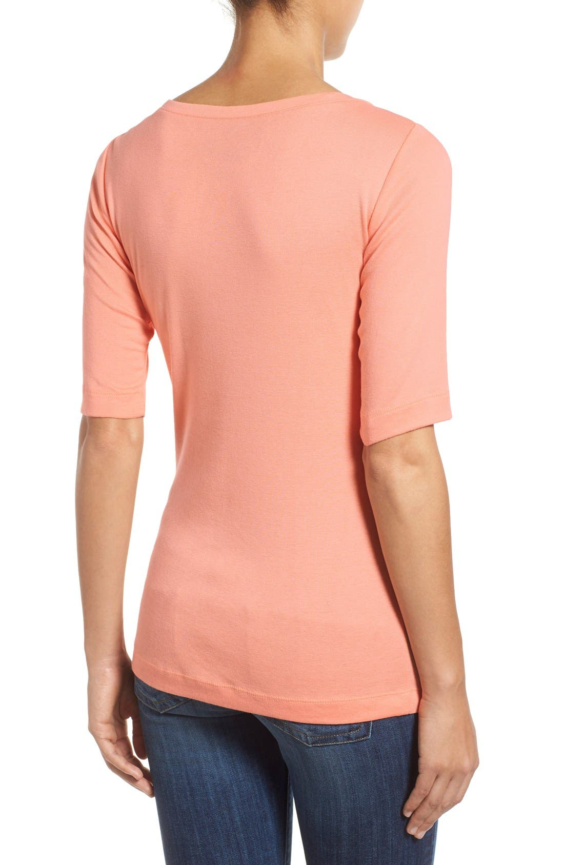 Ballet Neck Cotton & Modal Knit Elbow Sleeve Tee,                             Alternate thumbnail 216, color,