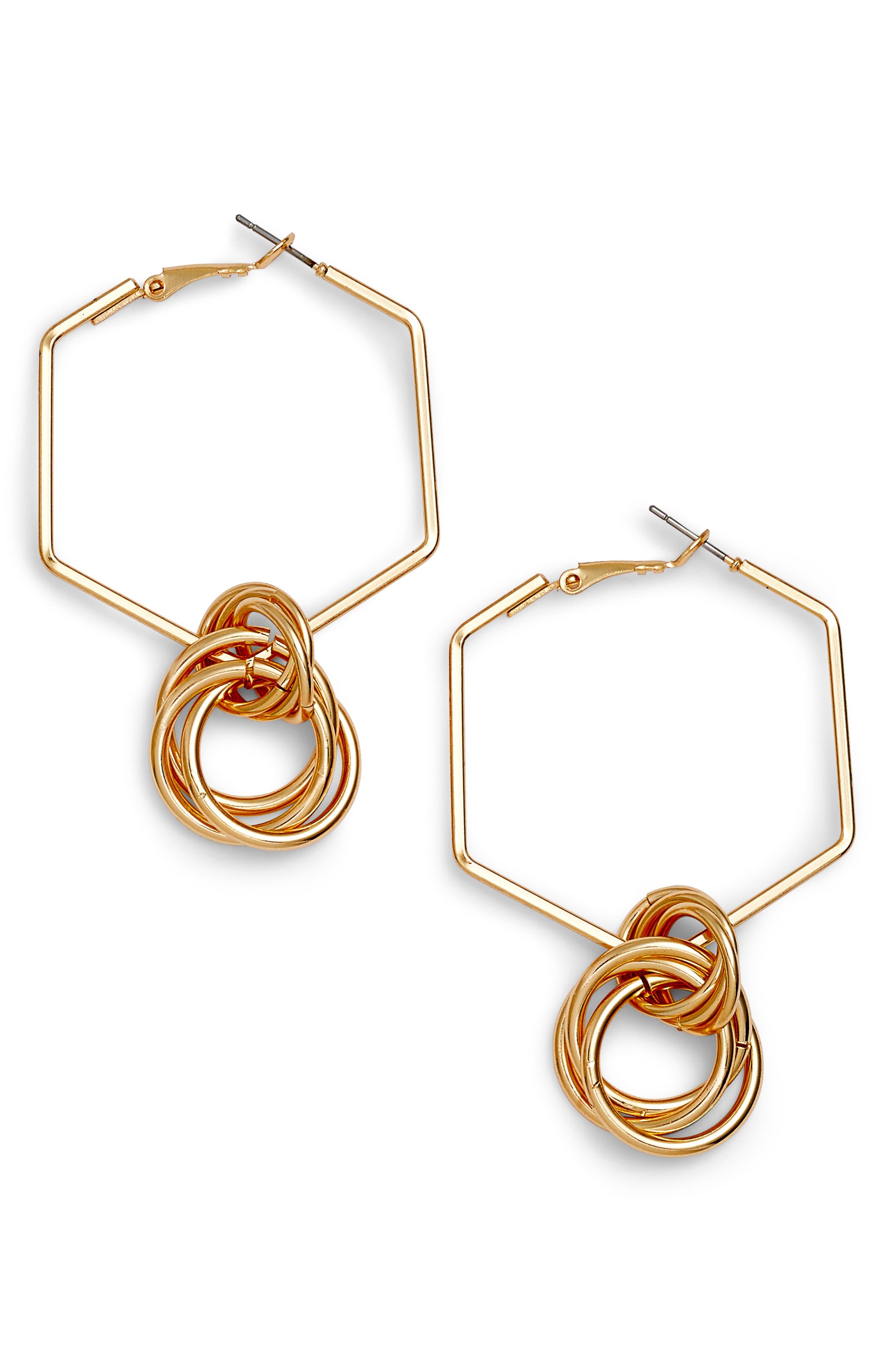 Geometric Hoop Earrings,                             Main thumbnail 1, color,                             710