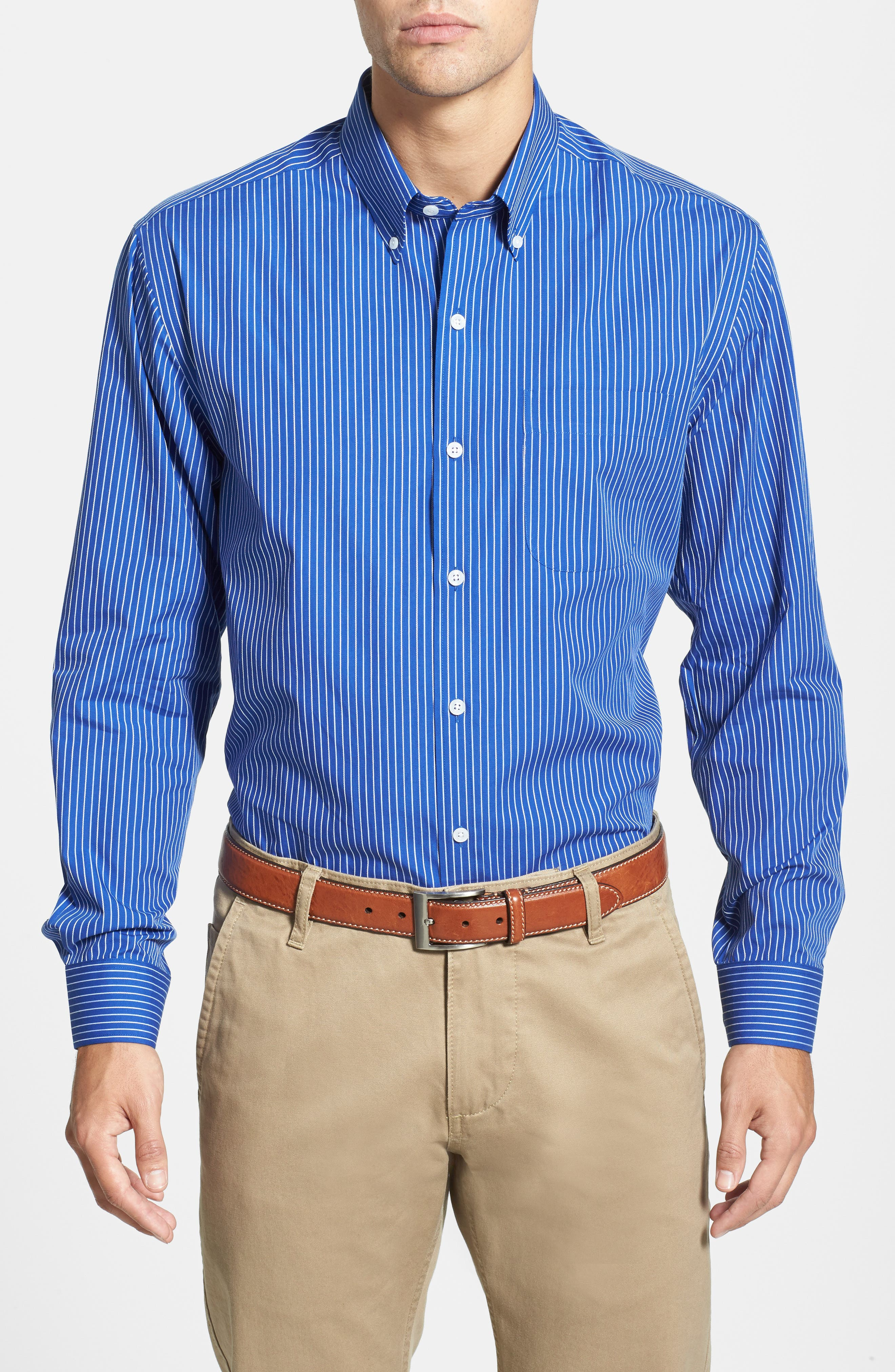 'Epic Easy Care' Classic Fit Vertical Pinstripe Wrinkle Resistant Sport Shirt,                             Alternate thumbnail 3, color,                             460
