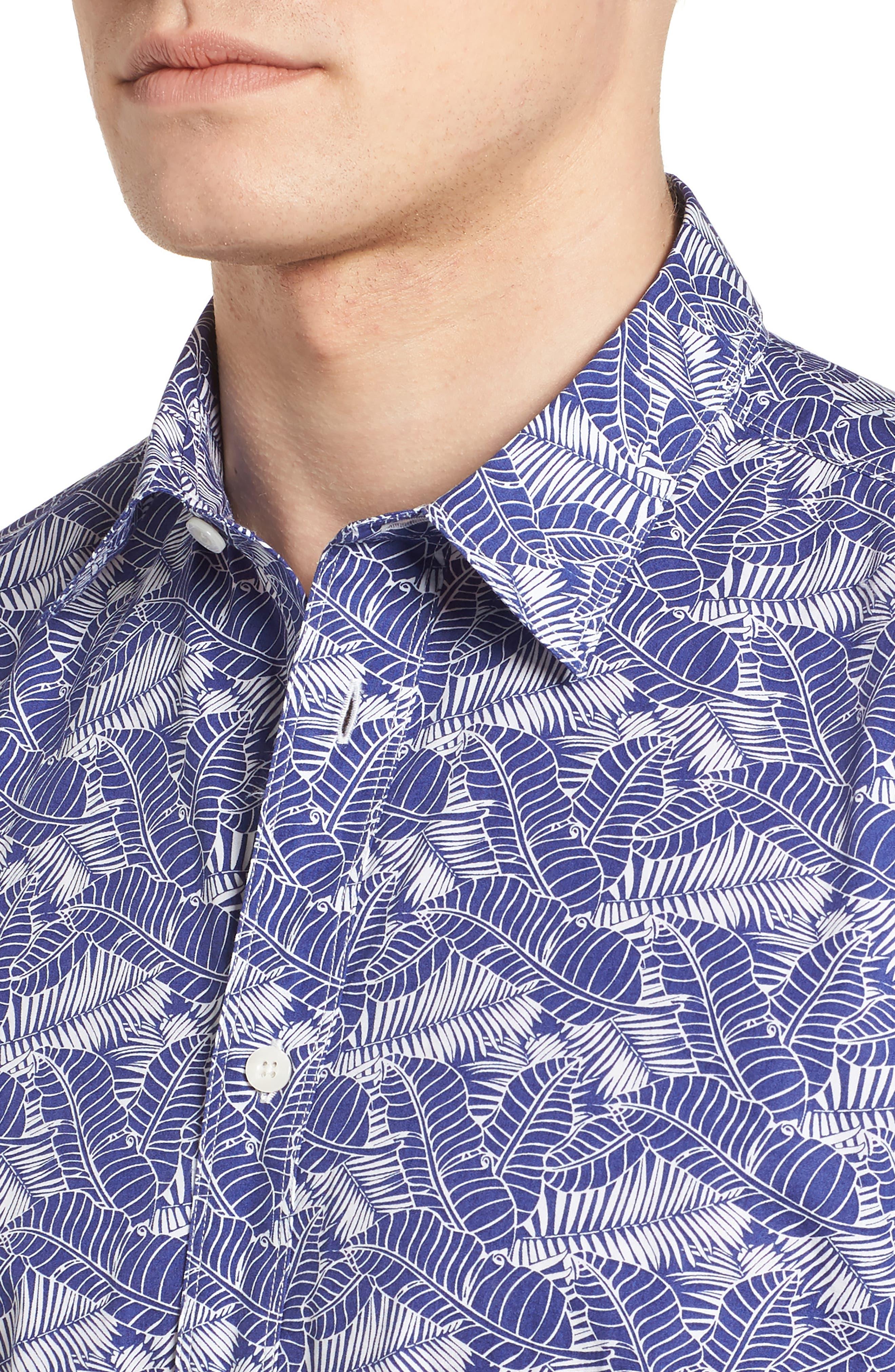 Lajoyas Regular Fit Palm Print Sport Shirt,                             Alternate thumbnail 4, color,                             422