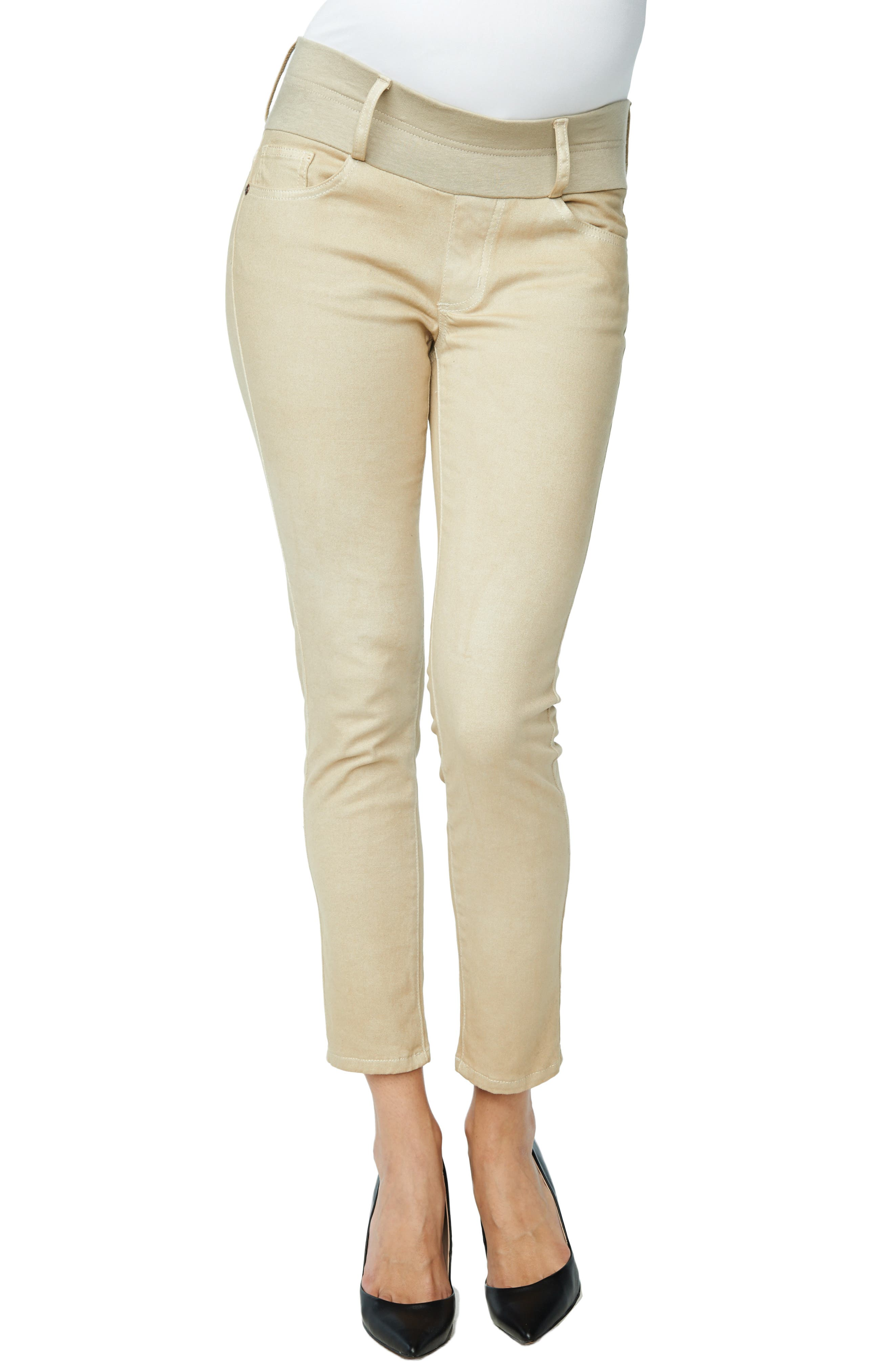 Maternity Skinny Ankle Stretch Jeans,                             Alternate thumbnail 2, color,                             TAUPE