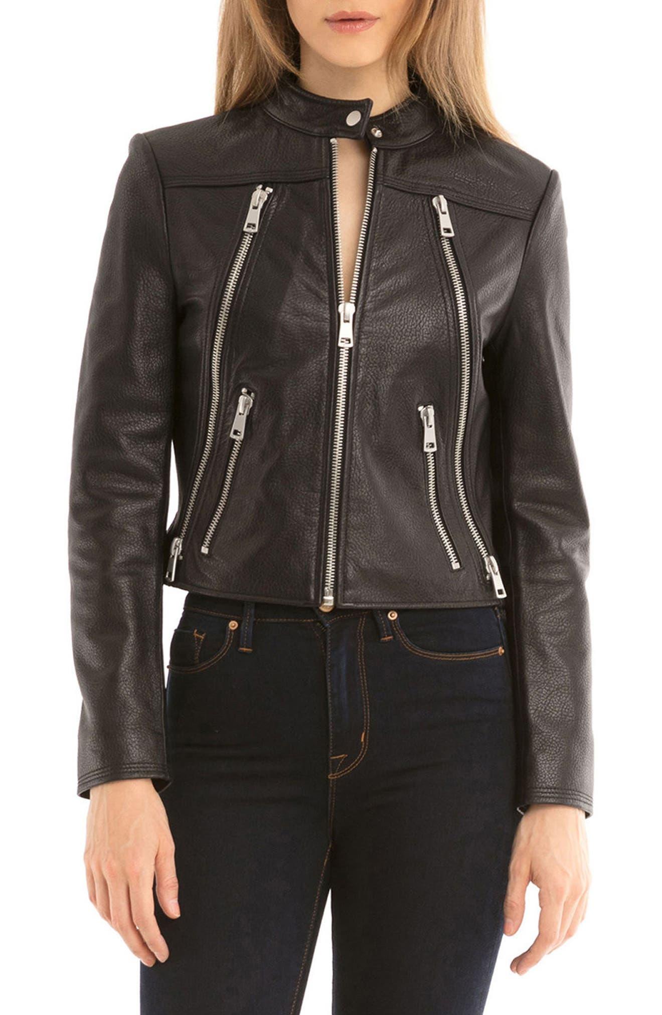 Bagatelle Textured Leather Jacket,                             Alternate thumbnail 5, color,                             001