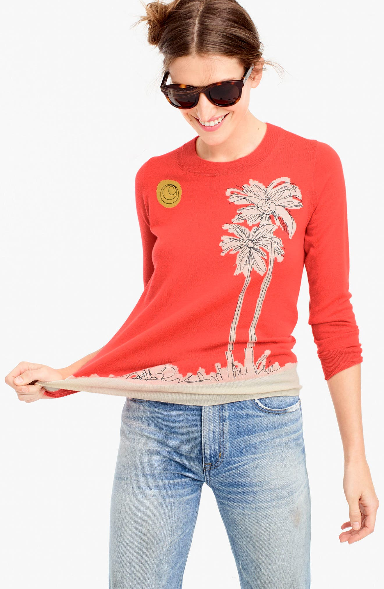 Embroidered Palm Tree Tippi Sweater,                             Alternate thumbnail 2, color,                             600