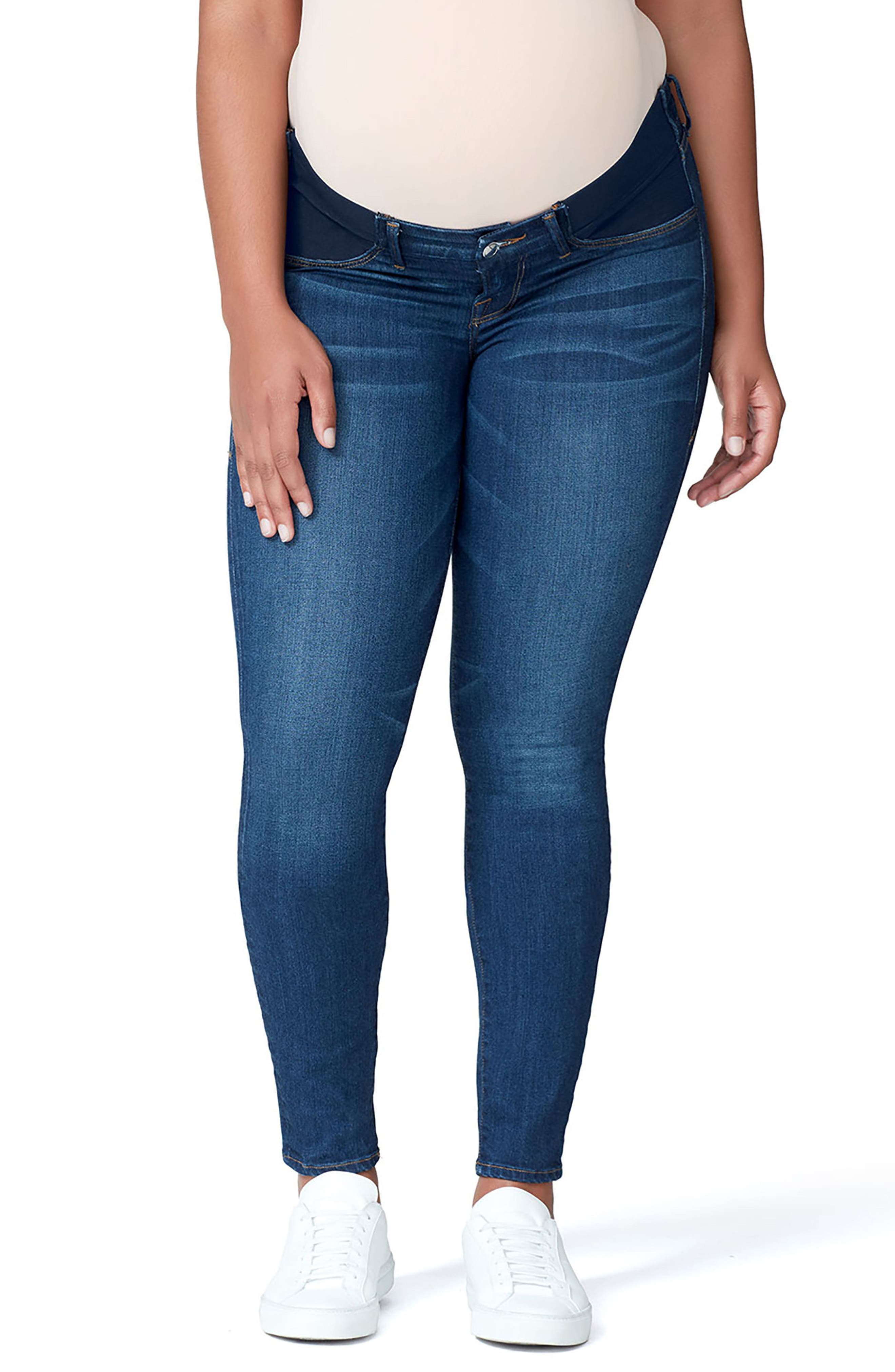 Good Mama The Honeymoon Low Rise Maternity Skinny Jeans,                             Main thumbnail 1, color,                             BLUE