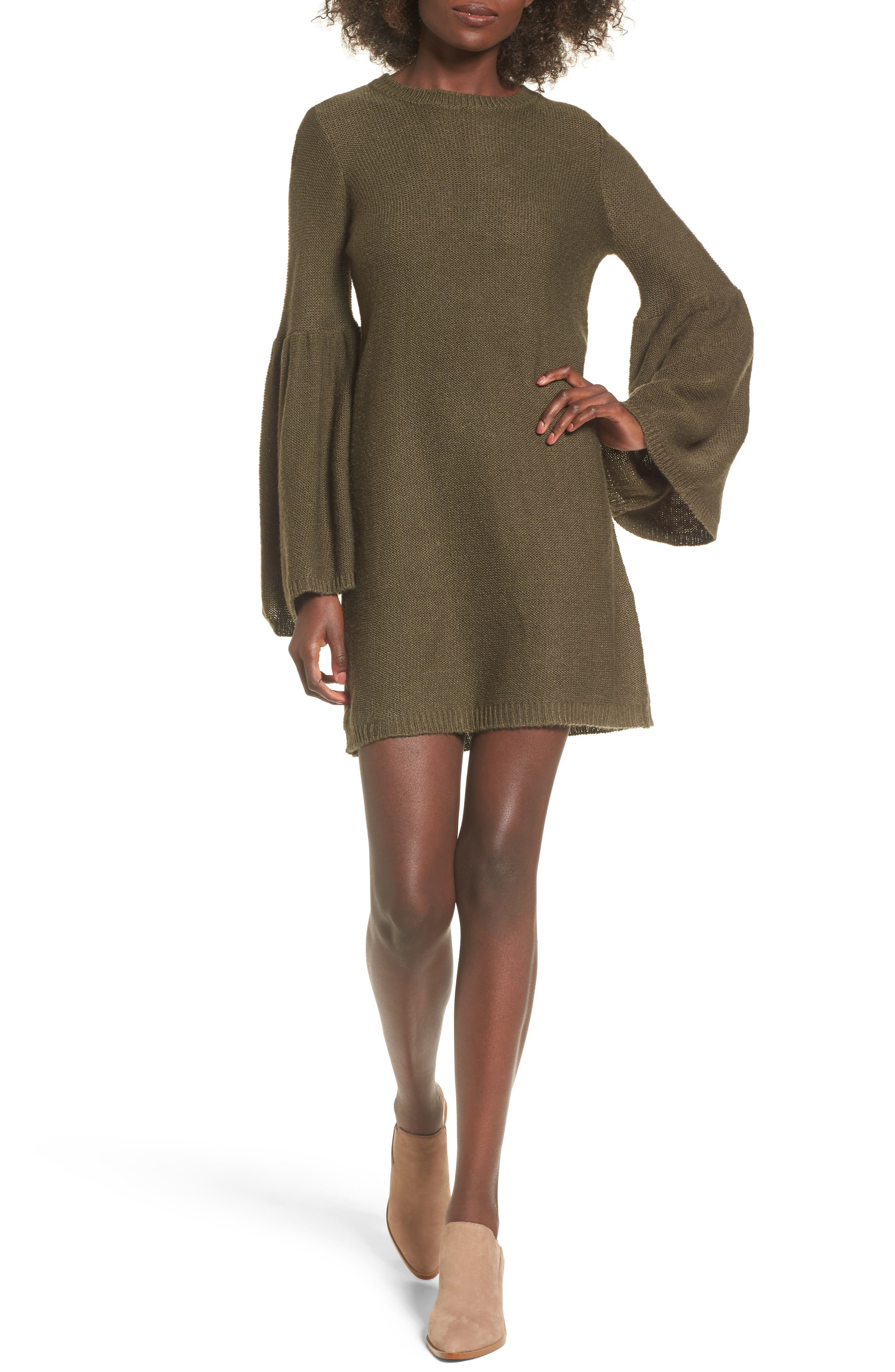 Bell Sleeve Sweater Dress,                             Main thumbnail 2, color,