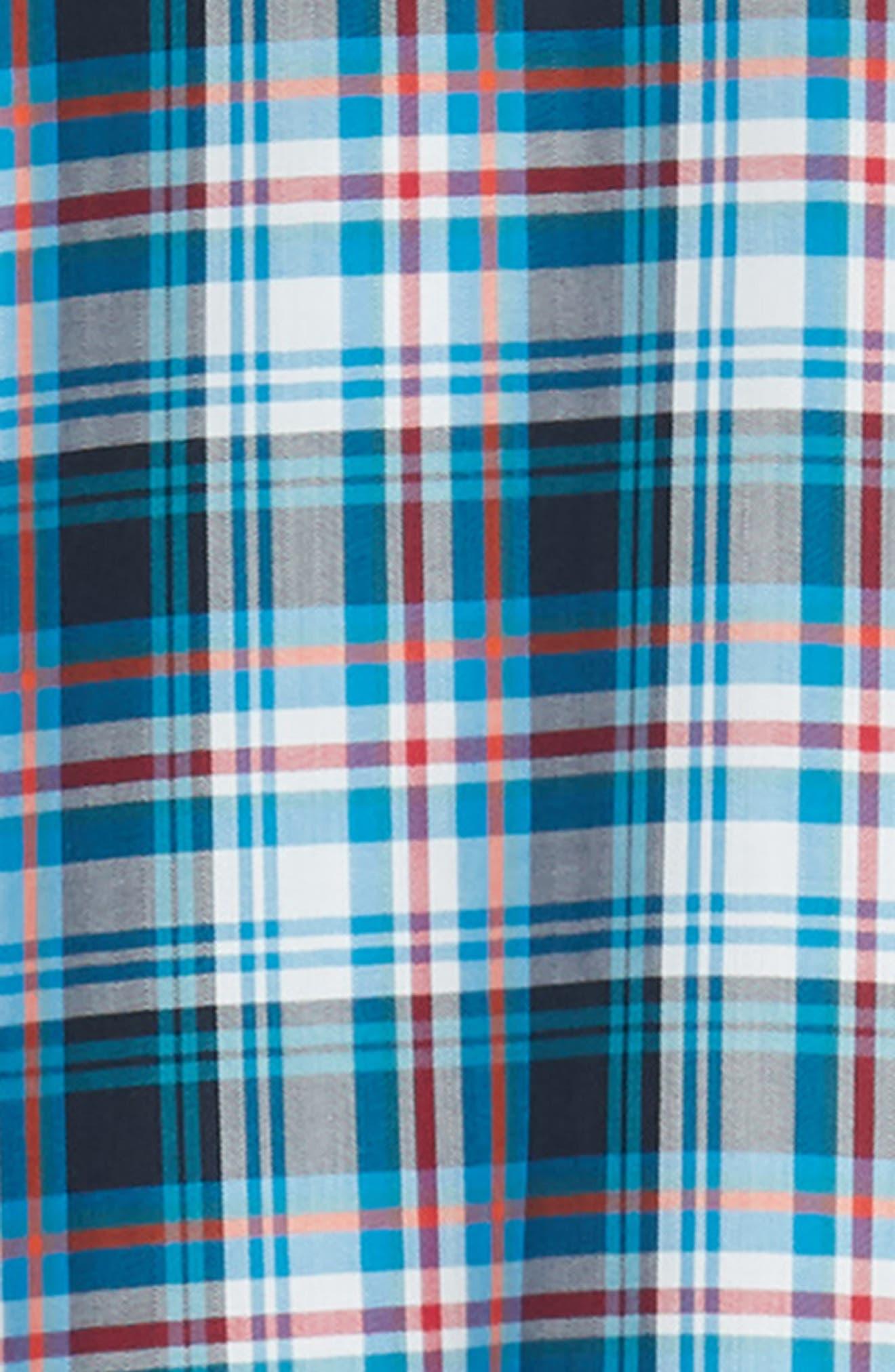 Brad Regular Fit Non-Iron Plaid Sport Shirt,                             Alternate thumbnail 6, color,                             LIBERTY NAVY