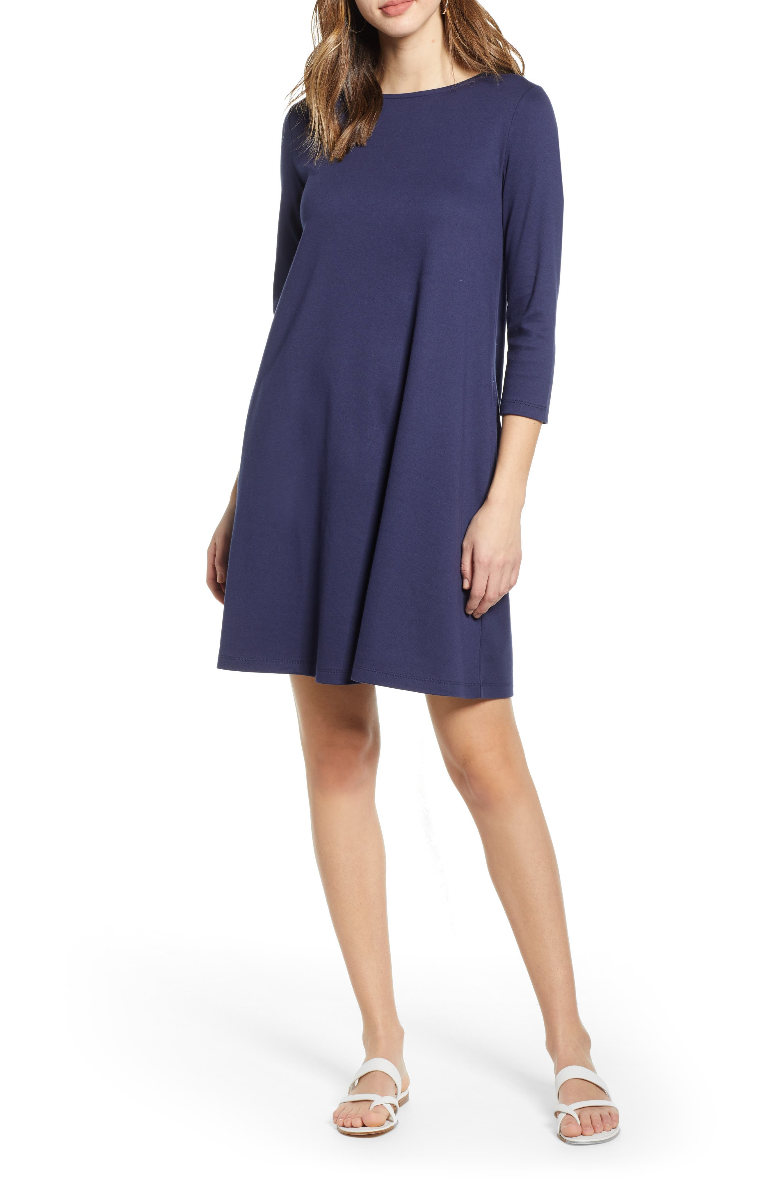 Petite 1901 Tie Back Stripe Knit Dress, Blue