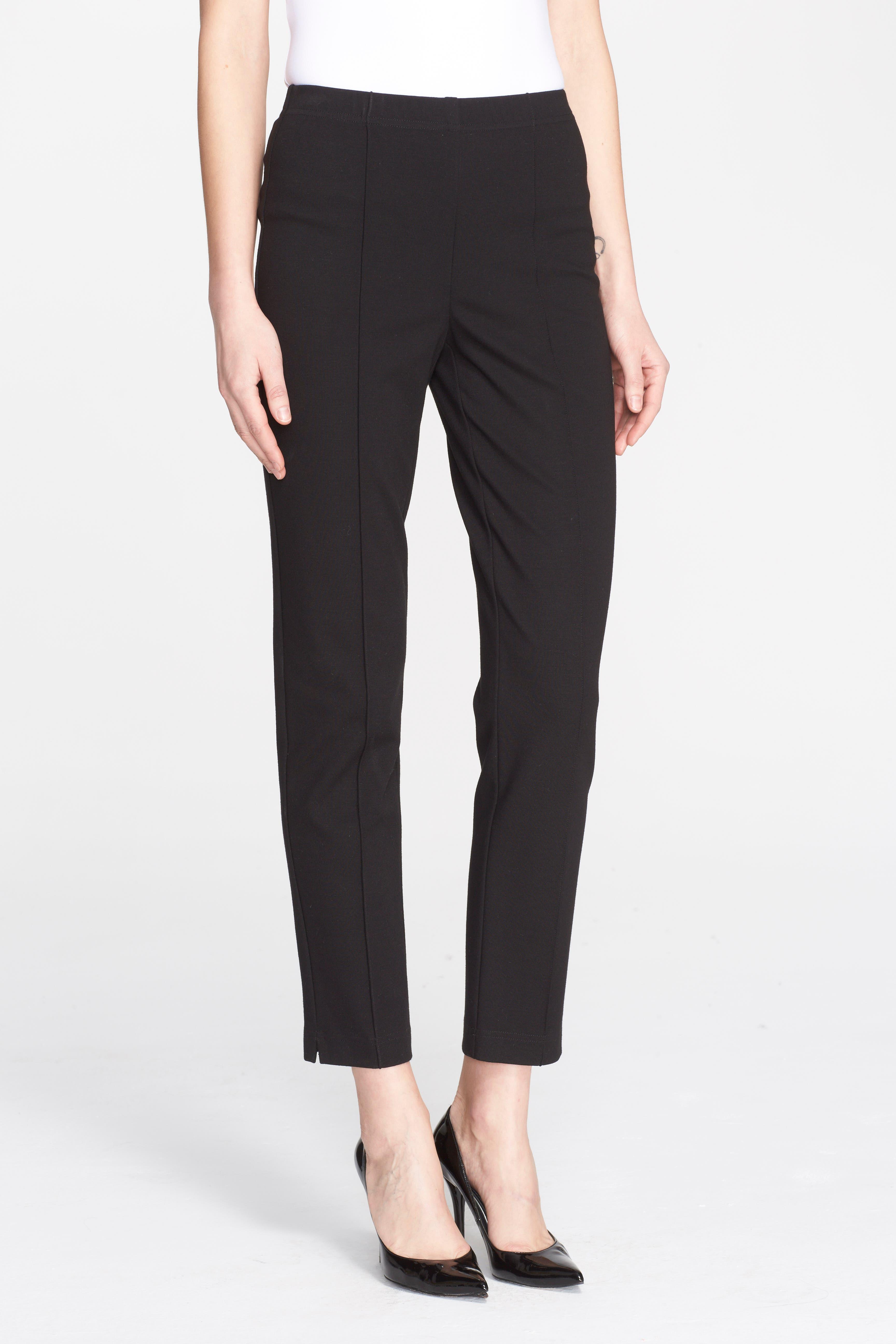 Ponte Knit Ankle Pants,                         Main,                         color, CAVIAR