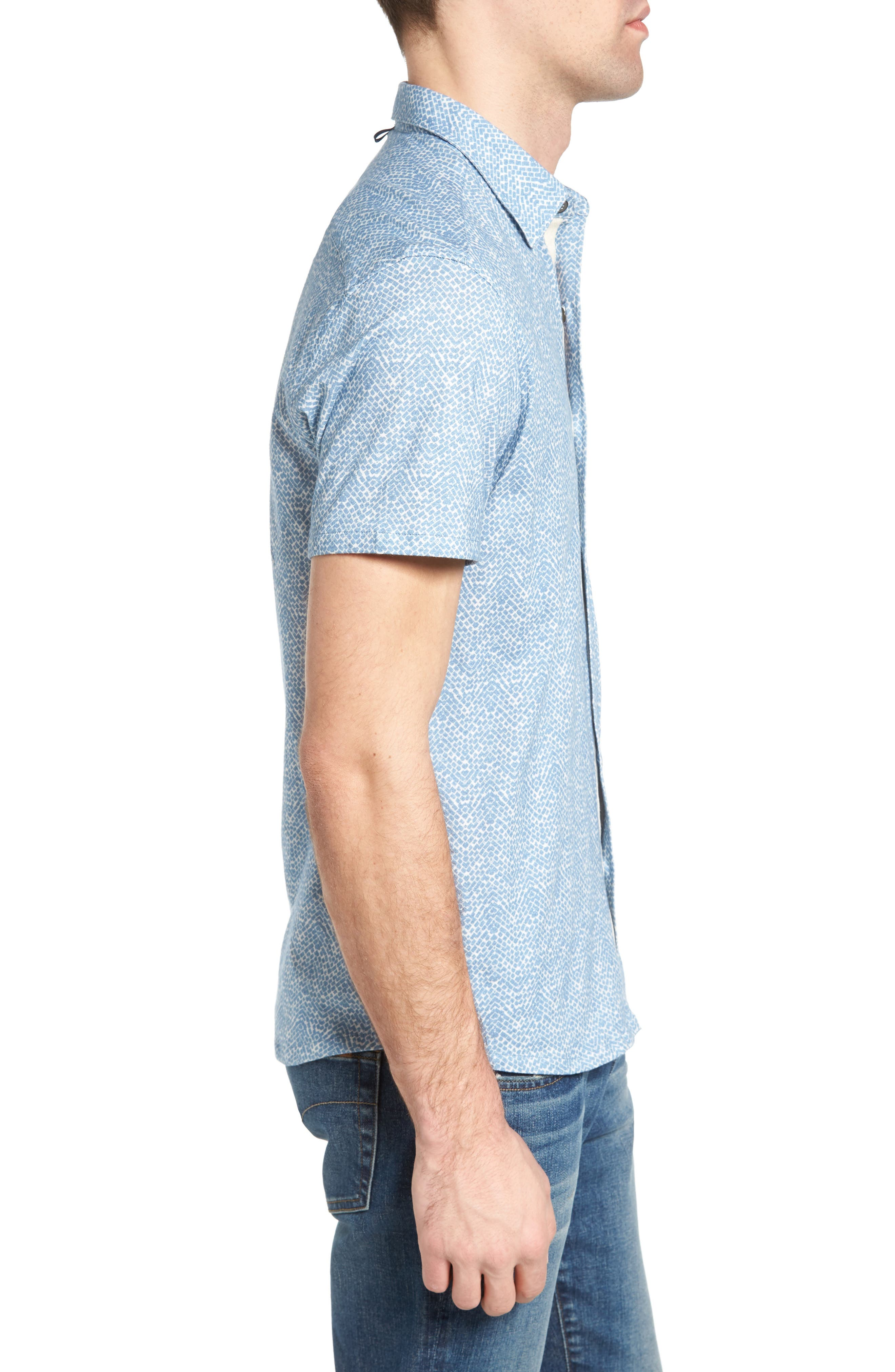 Metropolitan Brick Slim Fit Linen Sport Shirt,                             Alternate thumbnail 3, color,                             450