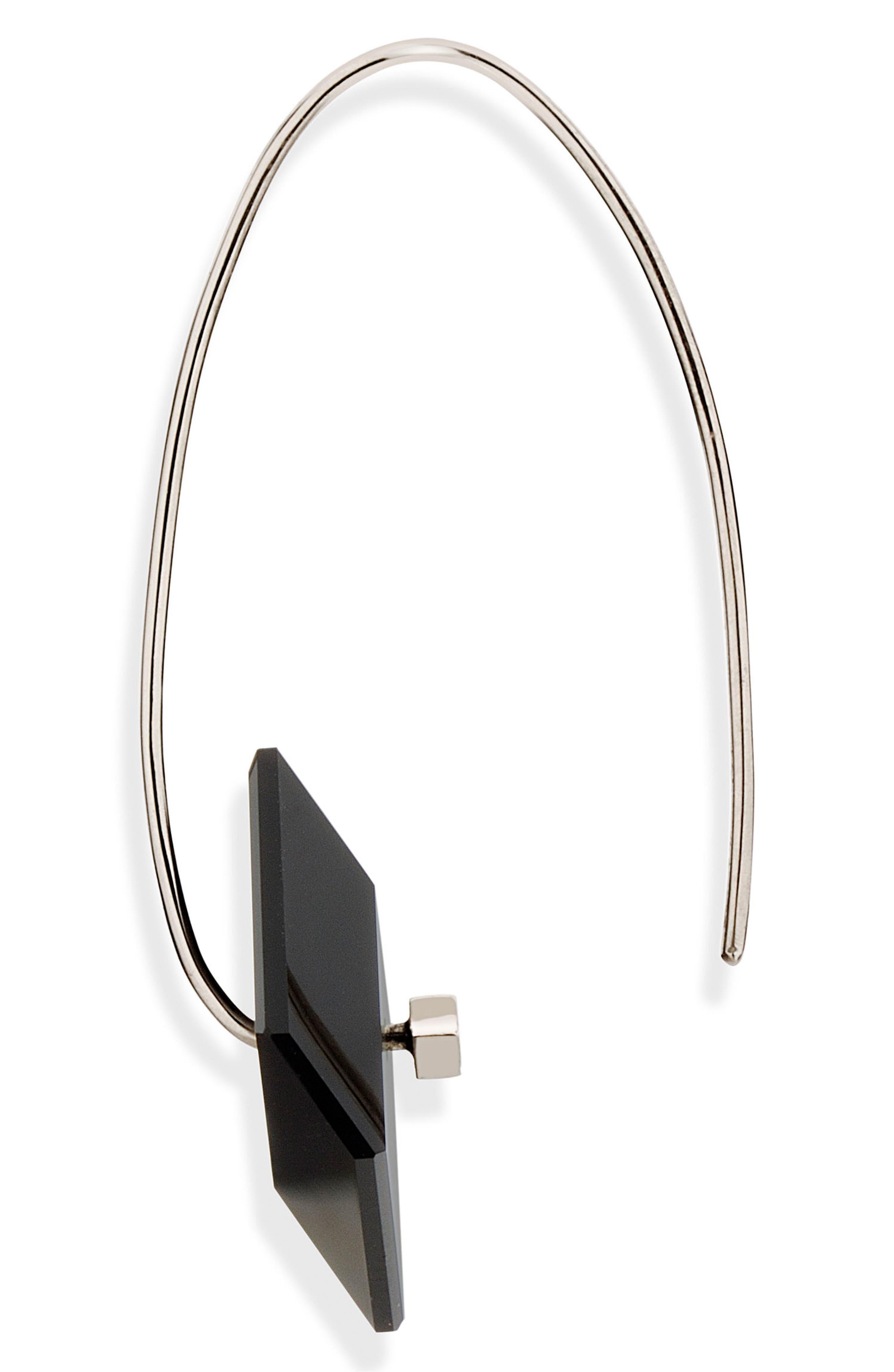 Reverse Fit Diamond Square Earrings,                             Alternate thumbnail 4, color,                             ONYX