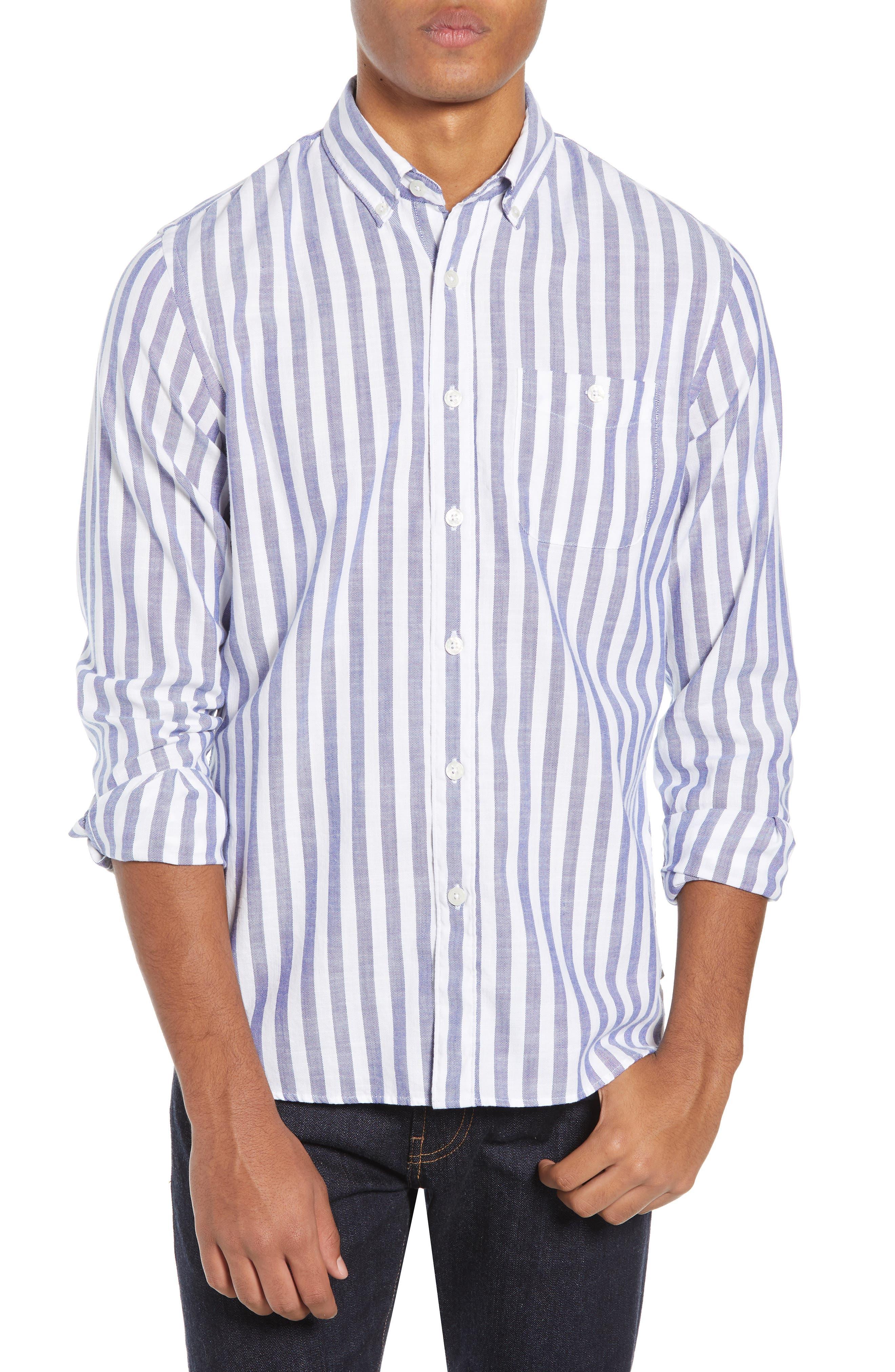 TODD SNYDER Regular Fit Stripe Oxford Sport Shirt in Blue