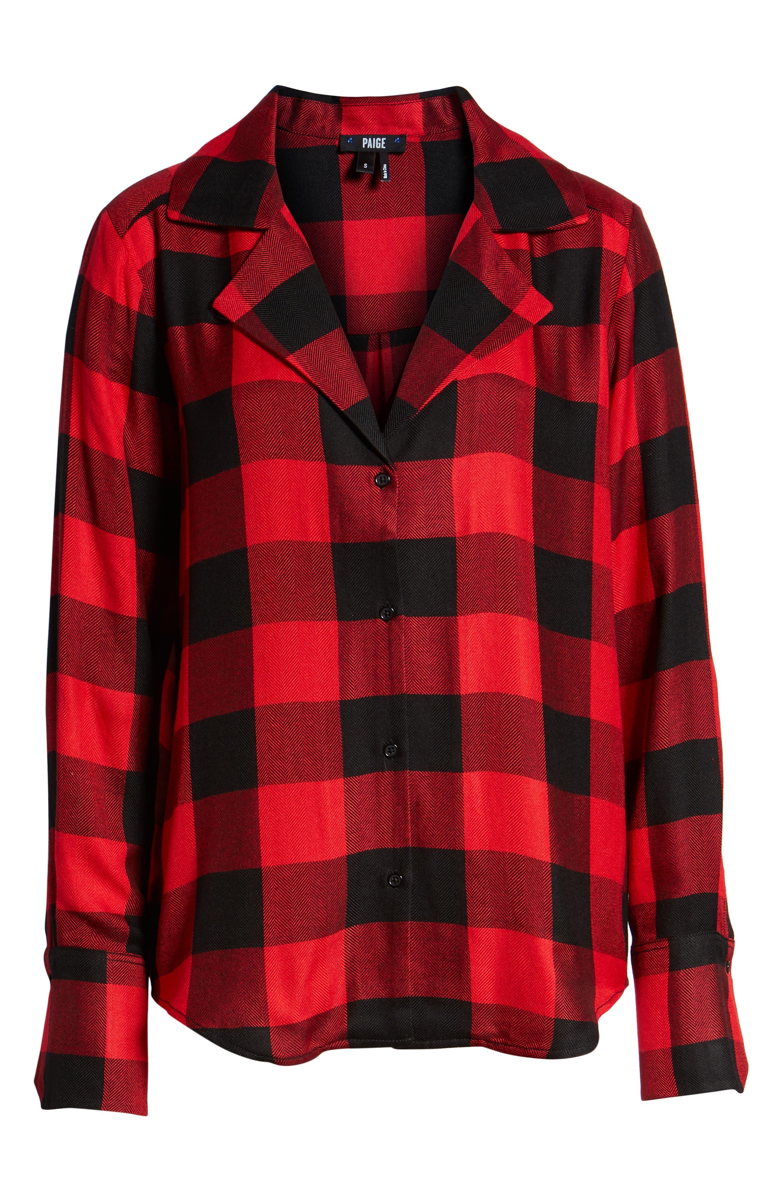 PAIGE,                             Elora Shirt,                             Alternate thumbnail 6, color,                             TRUE RED / BLACK