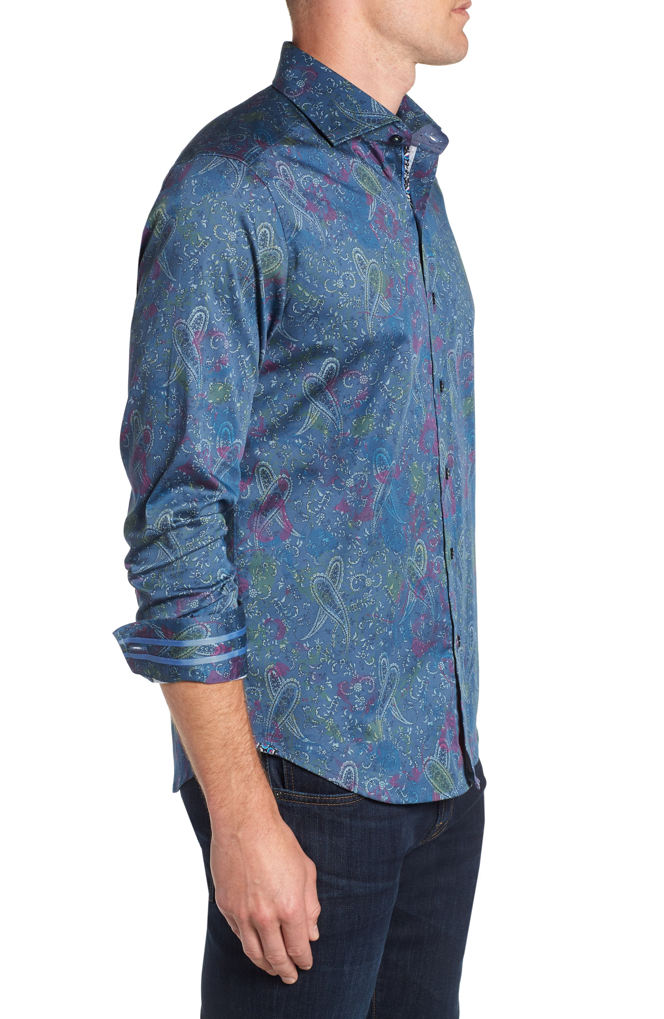 Carver Tailored Fit Sport Shirt,                             Alternate thumbnail 4, color,                             BLUE