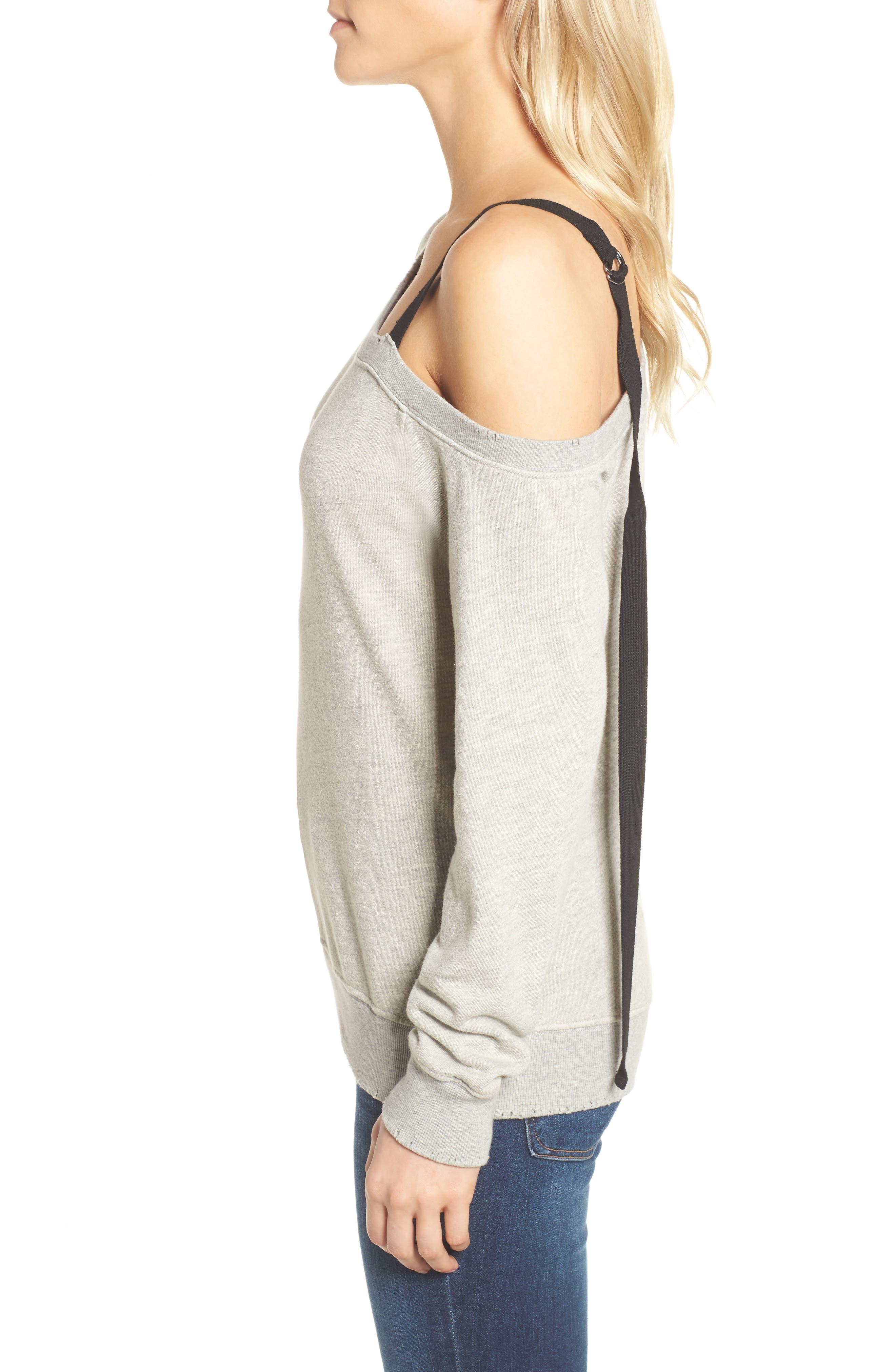 One-Shoulder Sweatshirt,                             Alternate thumbnail 3, color,