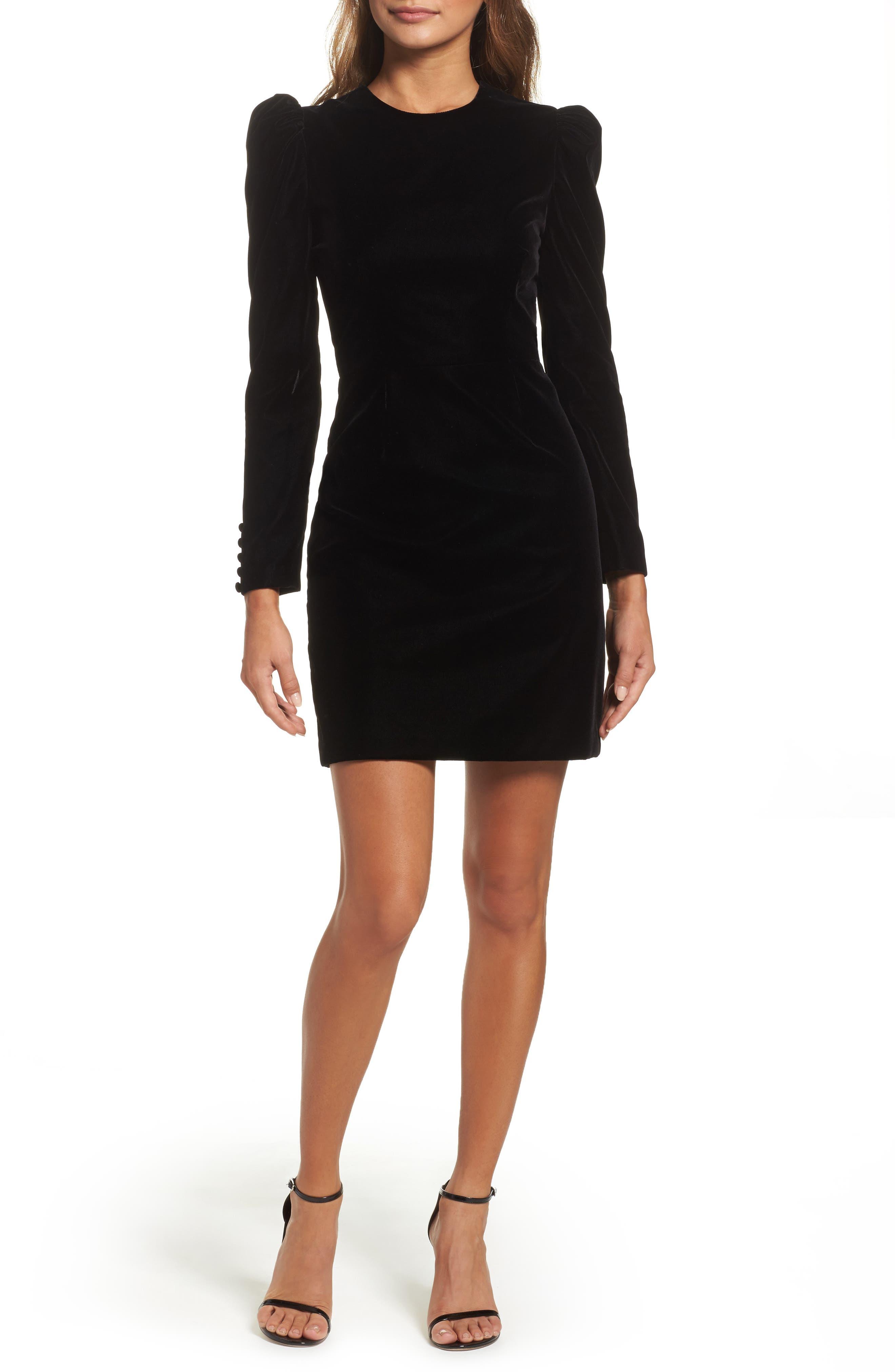Velvet Minidress,                         Main,                         color, 001