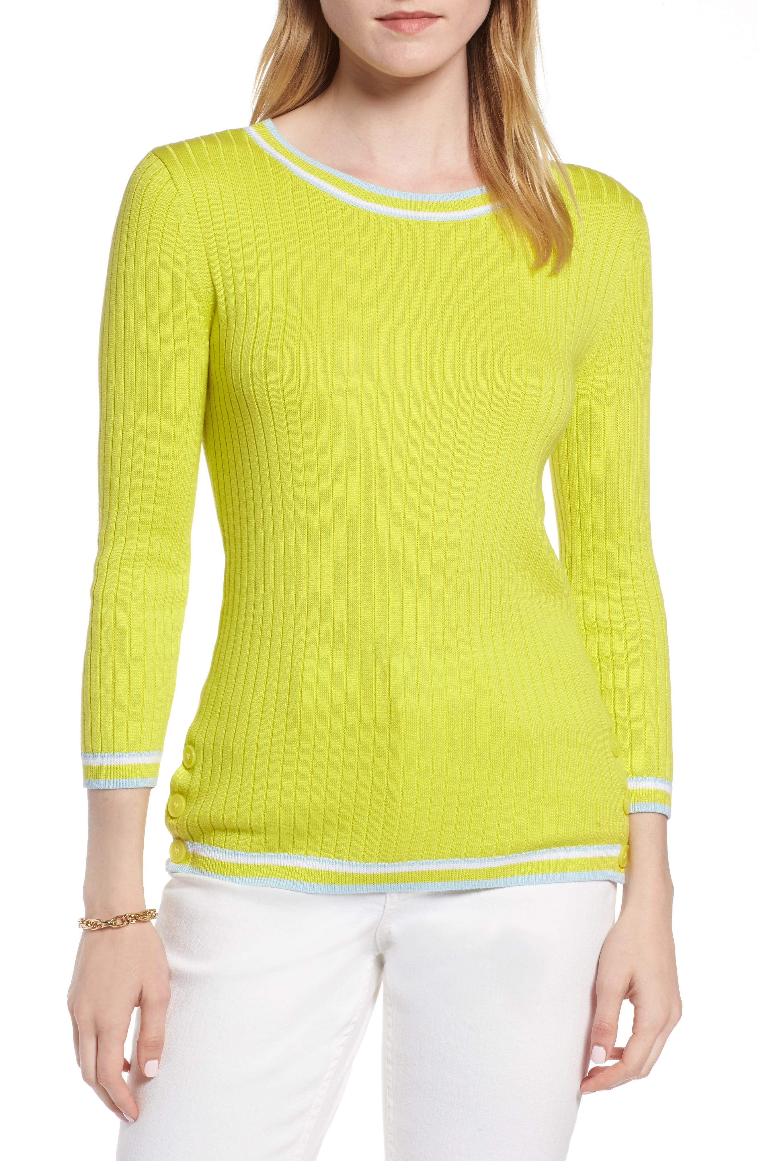 Tipped Cotton Blend Ribbed Sweater,                             Main thumbnail 1, color,                             330