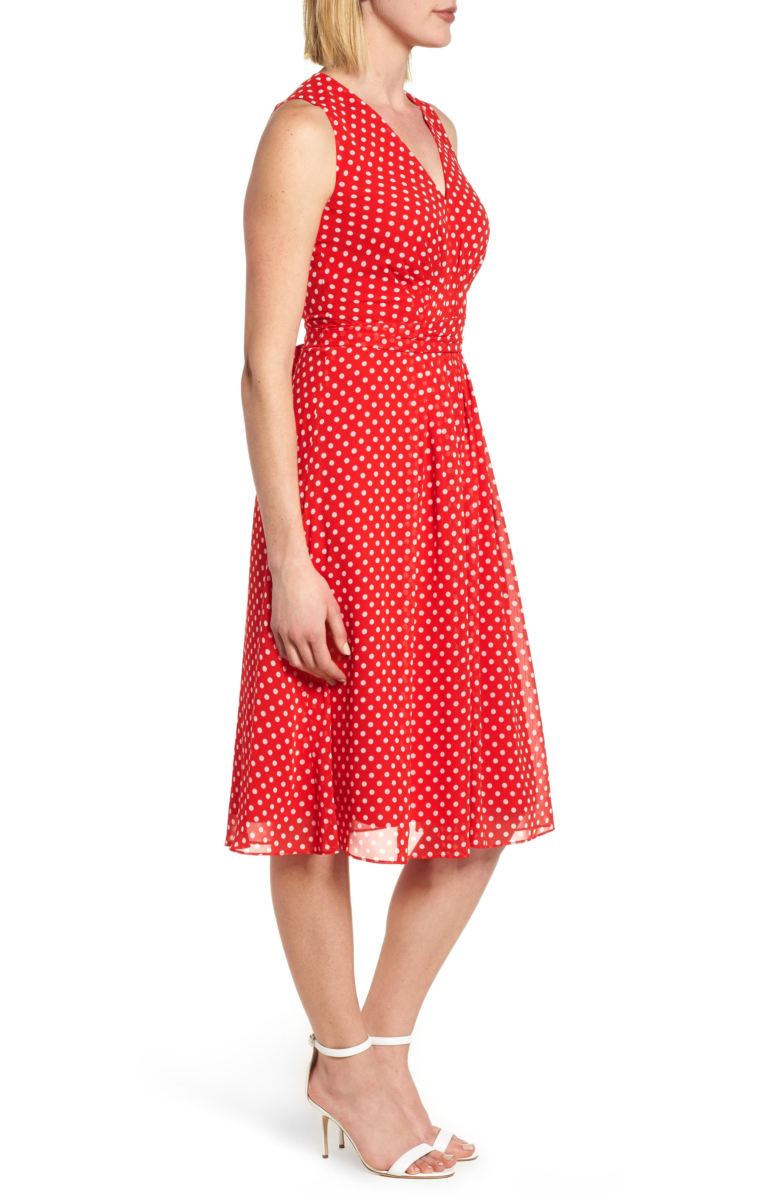 Polka Dot A-Line Dress,                             Alternate thumbnail 3, color,                             600