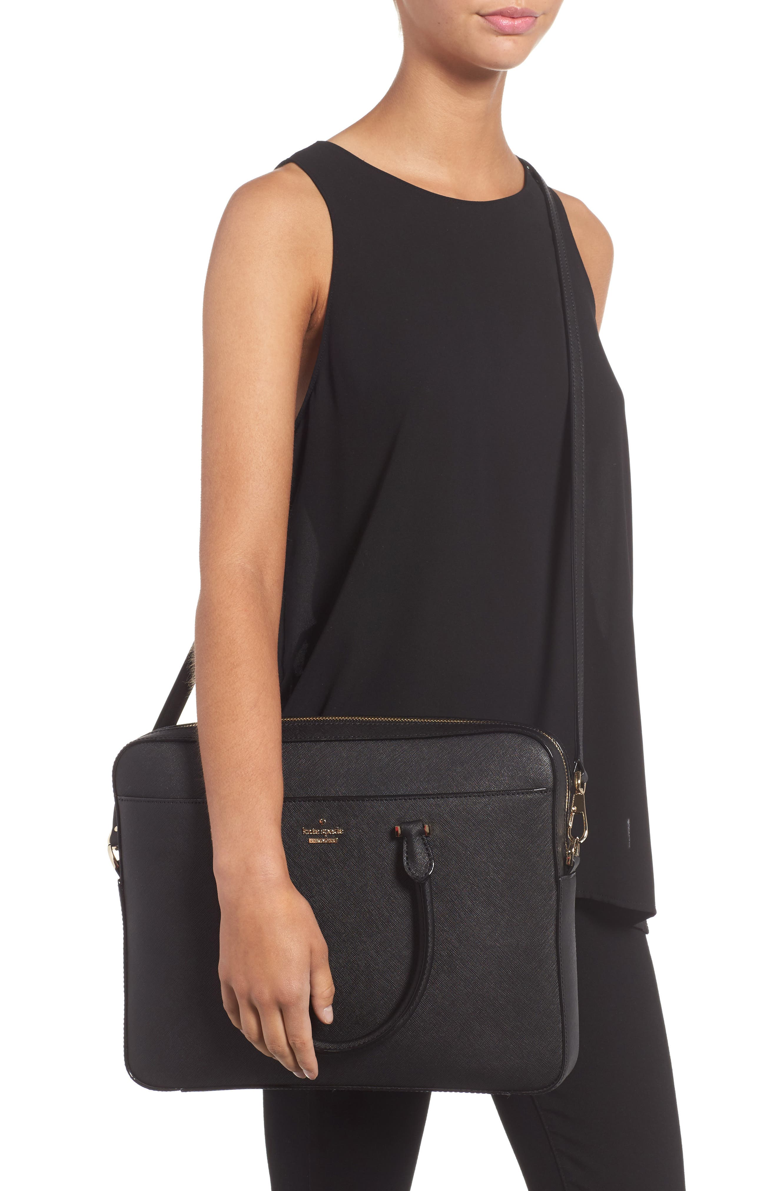 saffiano leather laptop bag,                             Alternate thumbnail 2, color,                             BLACK