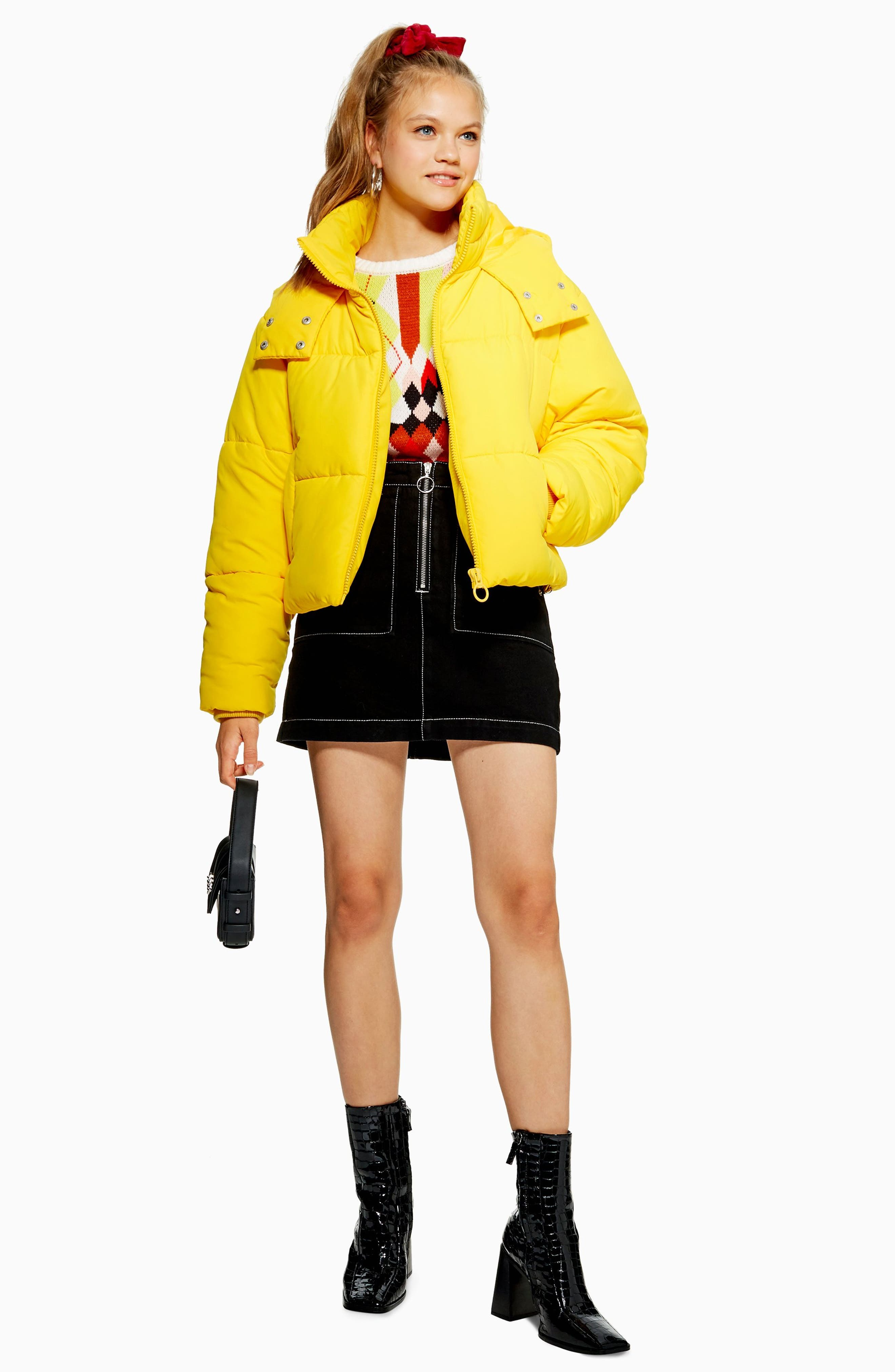 Hooded Puffer Jacket,                             Alternate thumbnail 4, color,                             YELLOW
