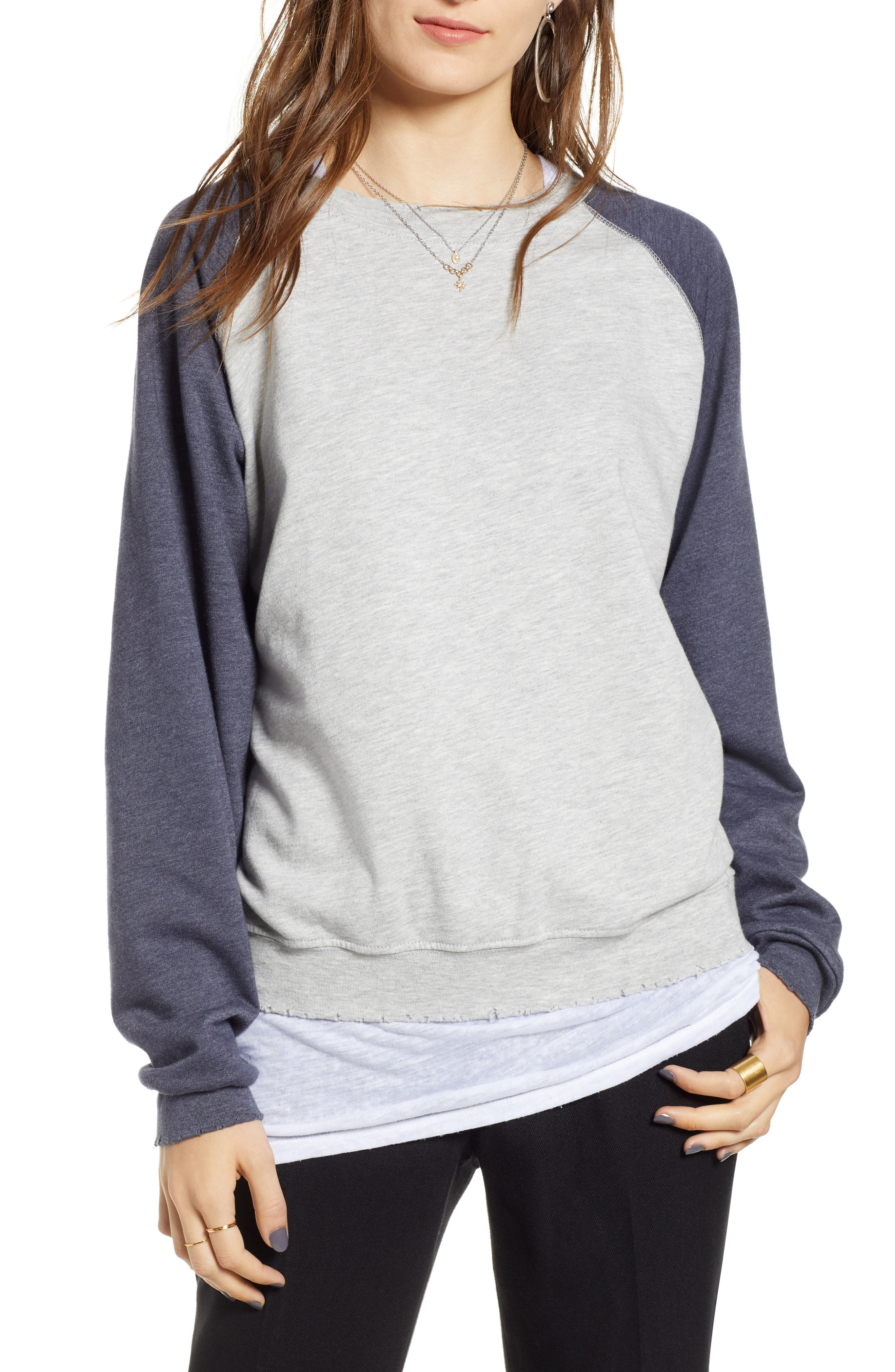 Raglan Sweatshirt,                             Main thumbnail 1, color,                             GREY HEATHER- NAVY COMBO