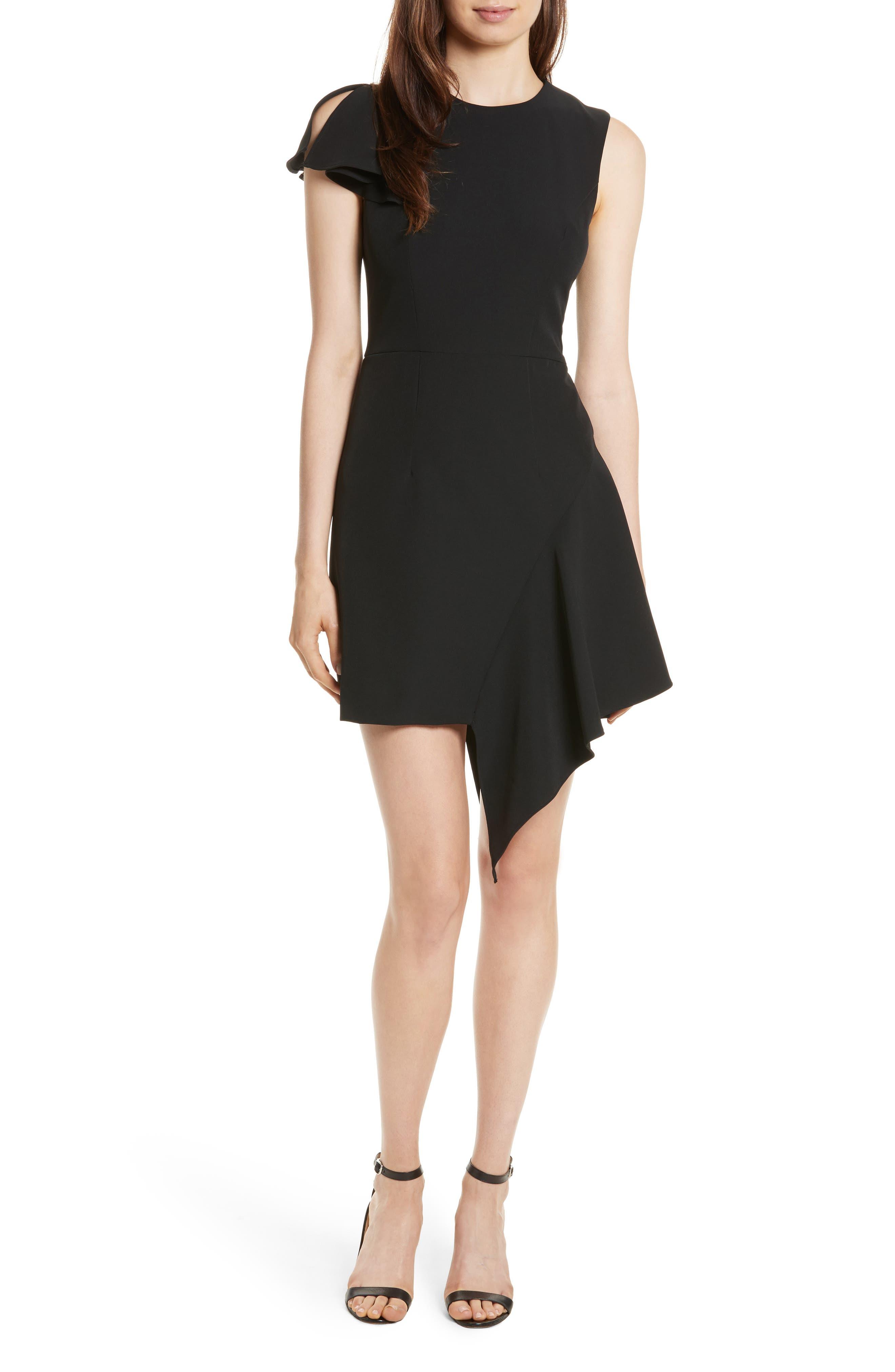 Asymmetrical Ruffle Stretch Cady Dress,                             Main thumbnail 1, color,                             001