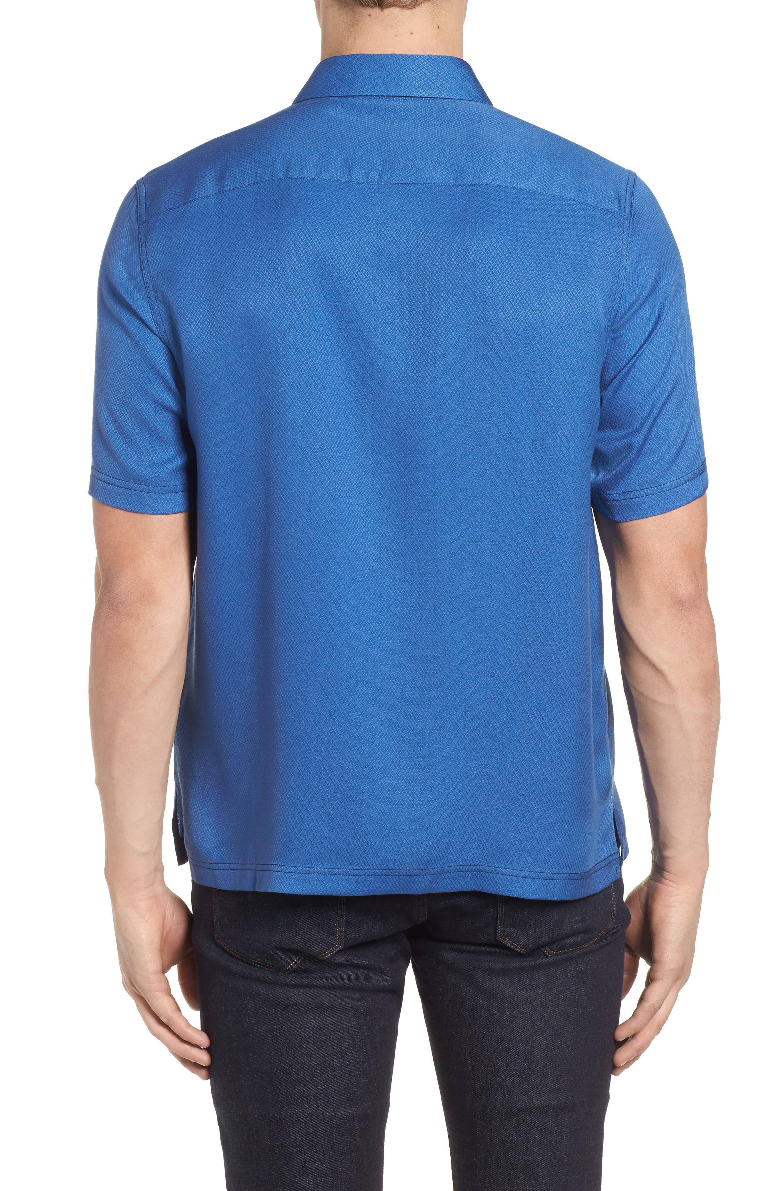 'Honeycomb' Regular Fit Short Sleeve Textured Sport Shirt,                             Alternate thumbnail 3, color,