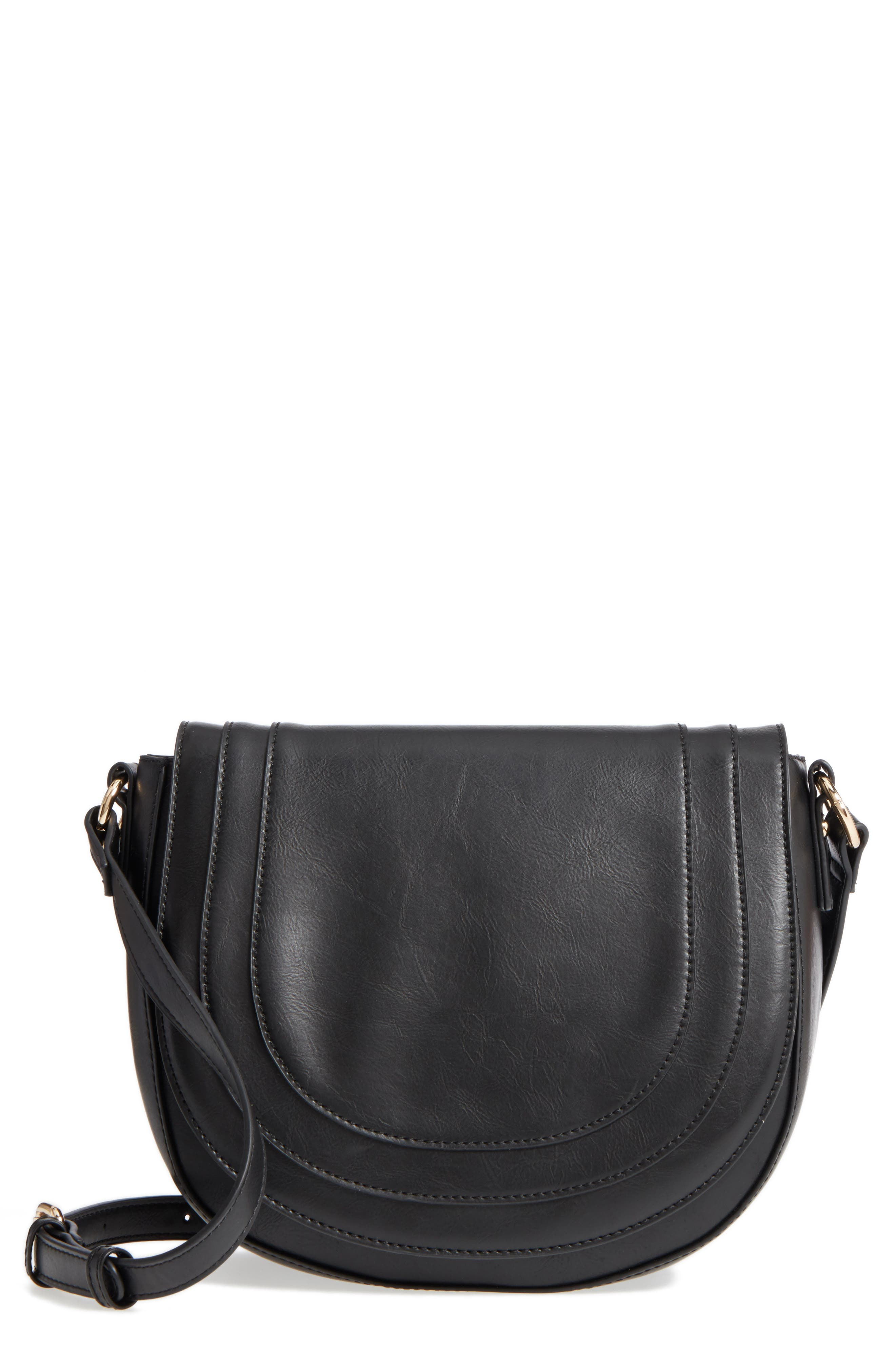 Piri Faux Leather Saddle Bag,                             Main thumbnail 1, color,                             001