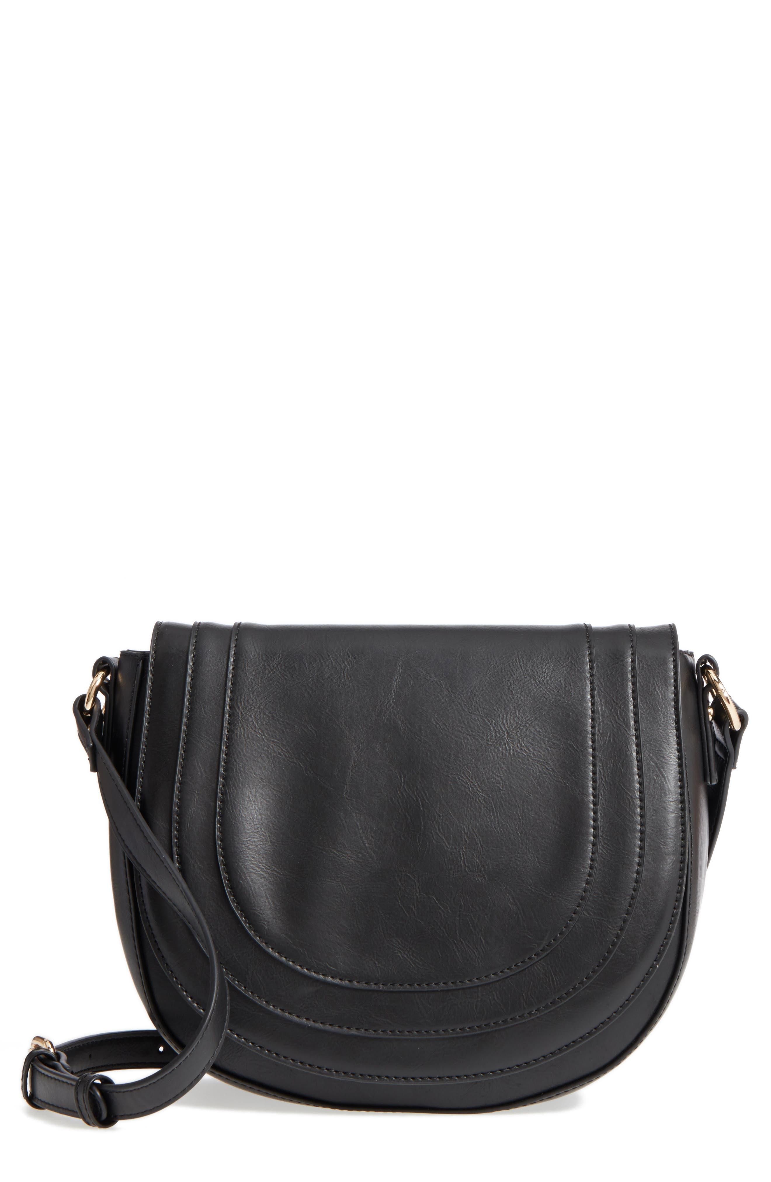 Piri Faux Leather Saddle Bag,                         Main,                         color, 001